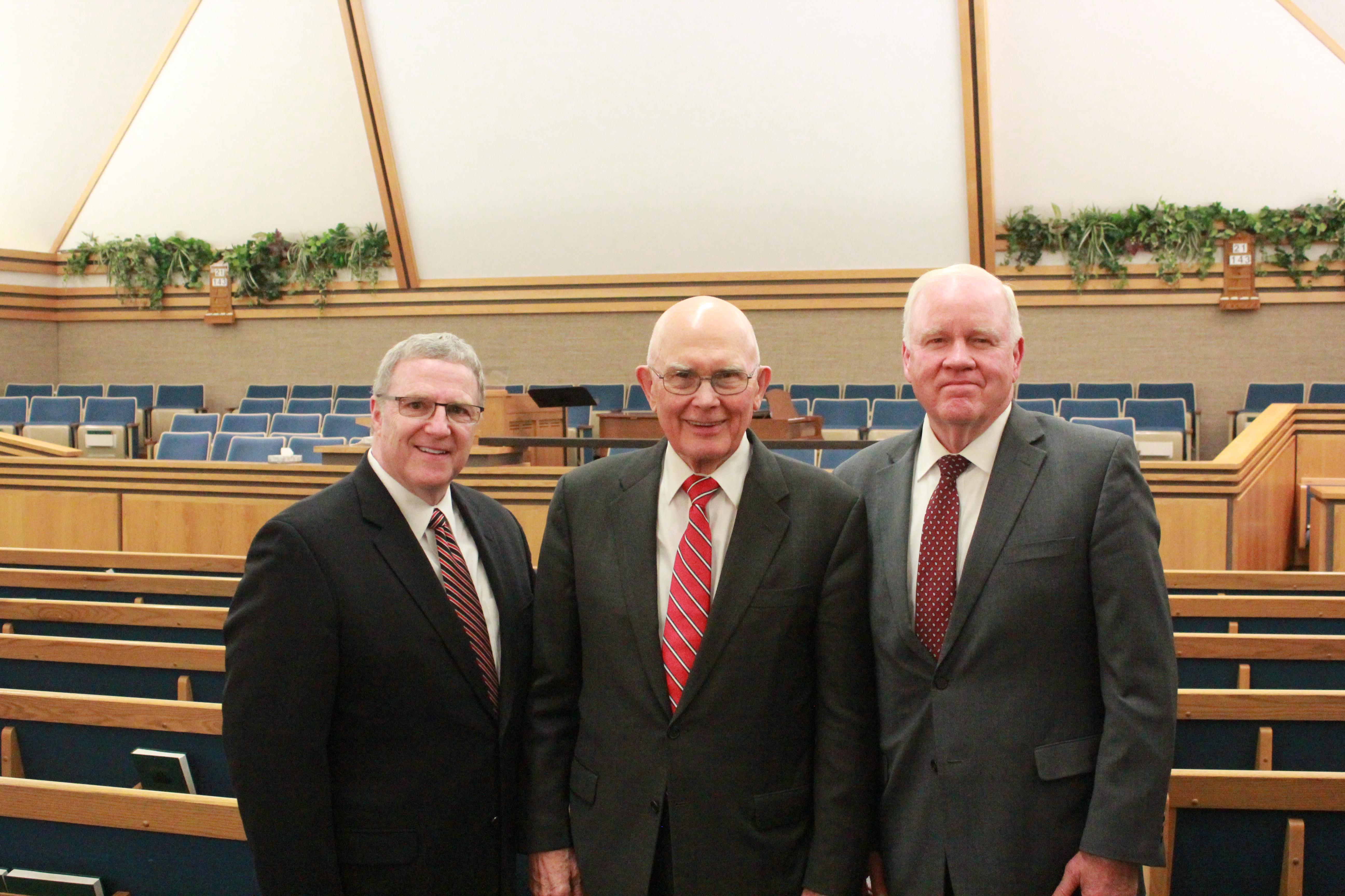 President Dallin H. Oaks, center; Elder Wilford W. Andersen, General Authority Seventy, right; and Elder Raymond S. Heyman, Area Seventy, participate in devotional in the Round Valley Dome in Eagar, Ariz. on Sept. 14, 2019.