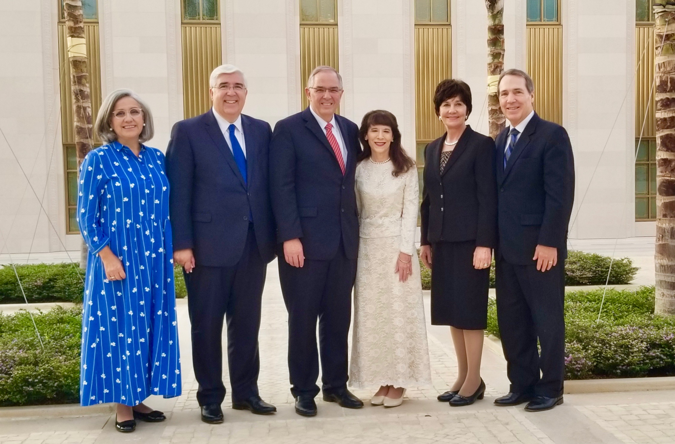 From left: Sister Filomena Teixeira, Elder José A. Teixeira, Elder Neil L. Andersen, Sister Kathy Andersen, Sister Valerie Sabin and Elder Gary B. Sabin pause for a photo outside the Lisbon Portugal Temple prior to its dedication on Sunday, Sept. 15, 2019.