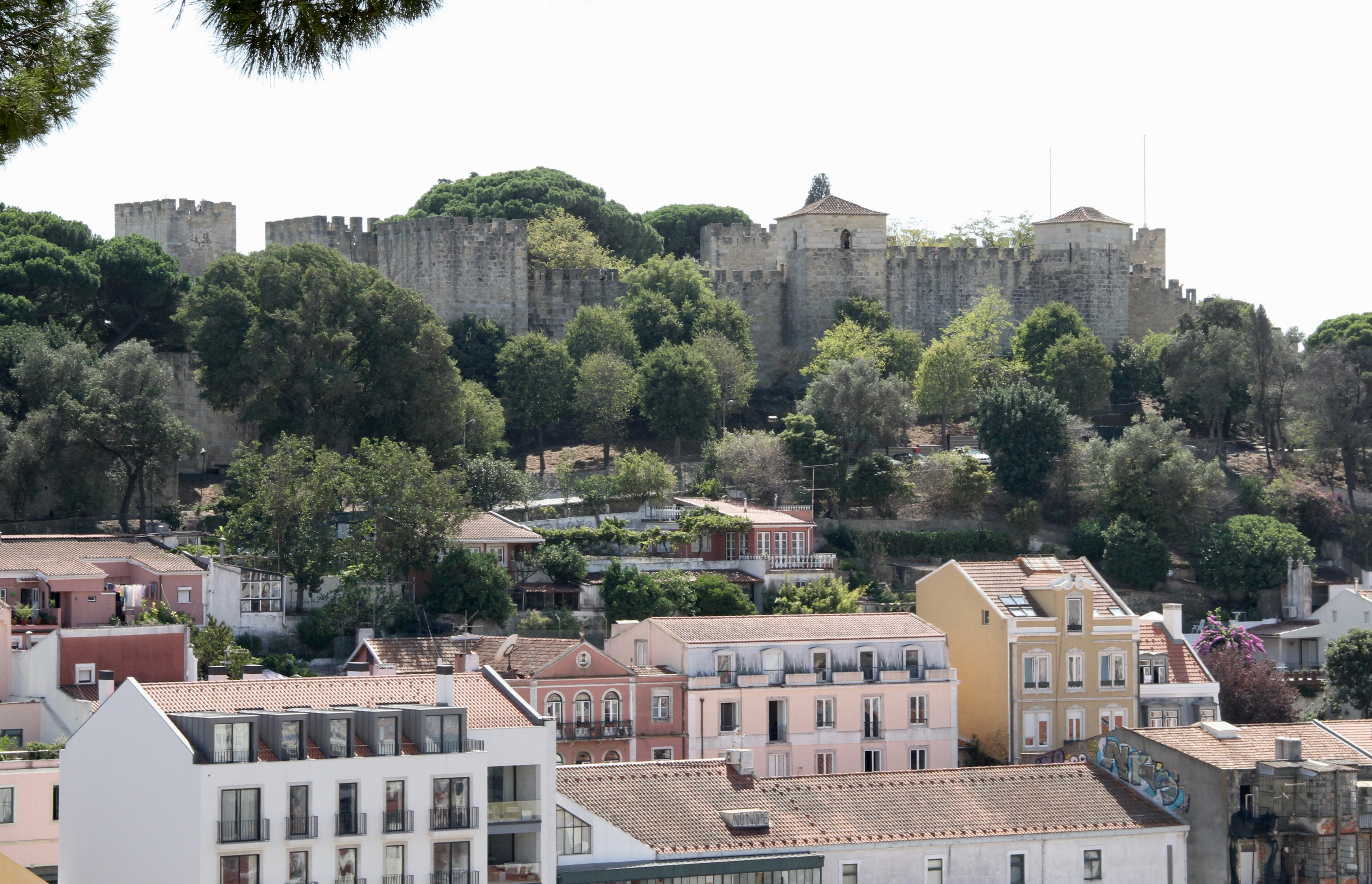 The St. George Castle (Castelo de S. Jorge) sits atop a hill overlooking central Lisbon, Portugal, on Sunday, Sept. 15, 2019.