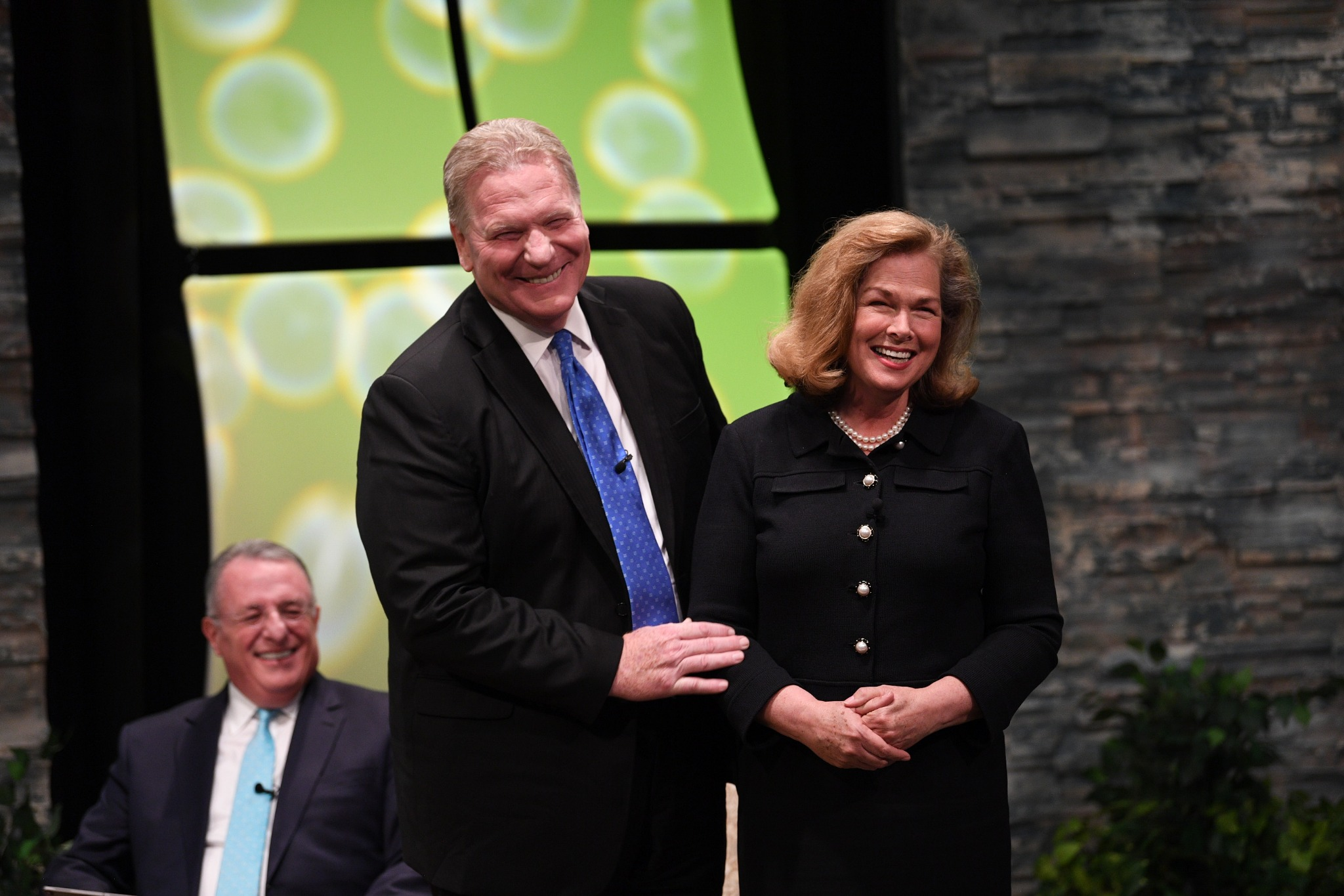 Elder Craig C. Christensen of the Seventy introduces his wife, Debbie, to the young adult audience at the Worldwide Devotional Face to Face broadcast on Sunday, September 15, 2019, in Provo, Utah.