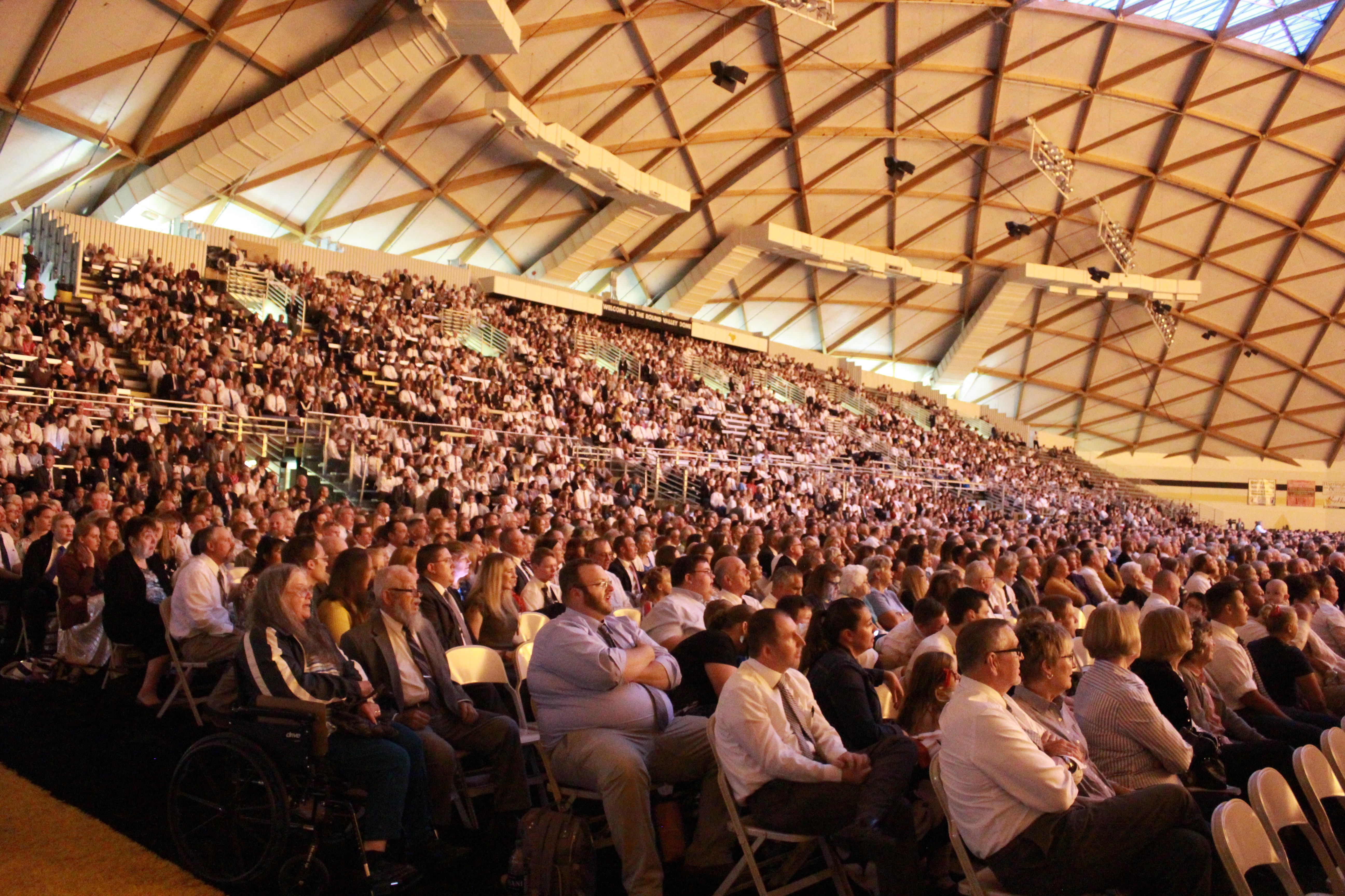Some 8,500 members attended a devotional in the Round Valley Dome in Eagar, Ariz.