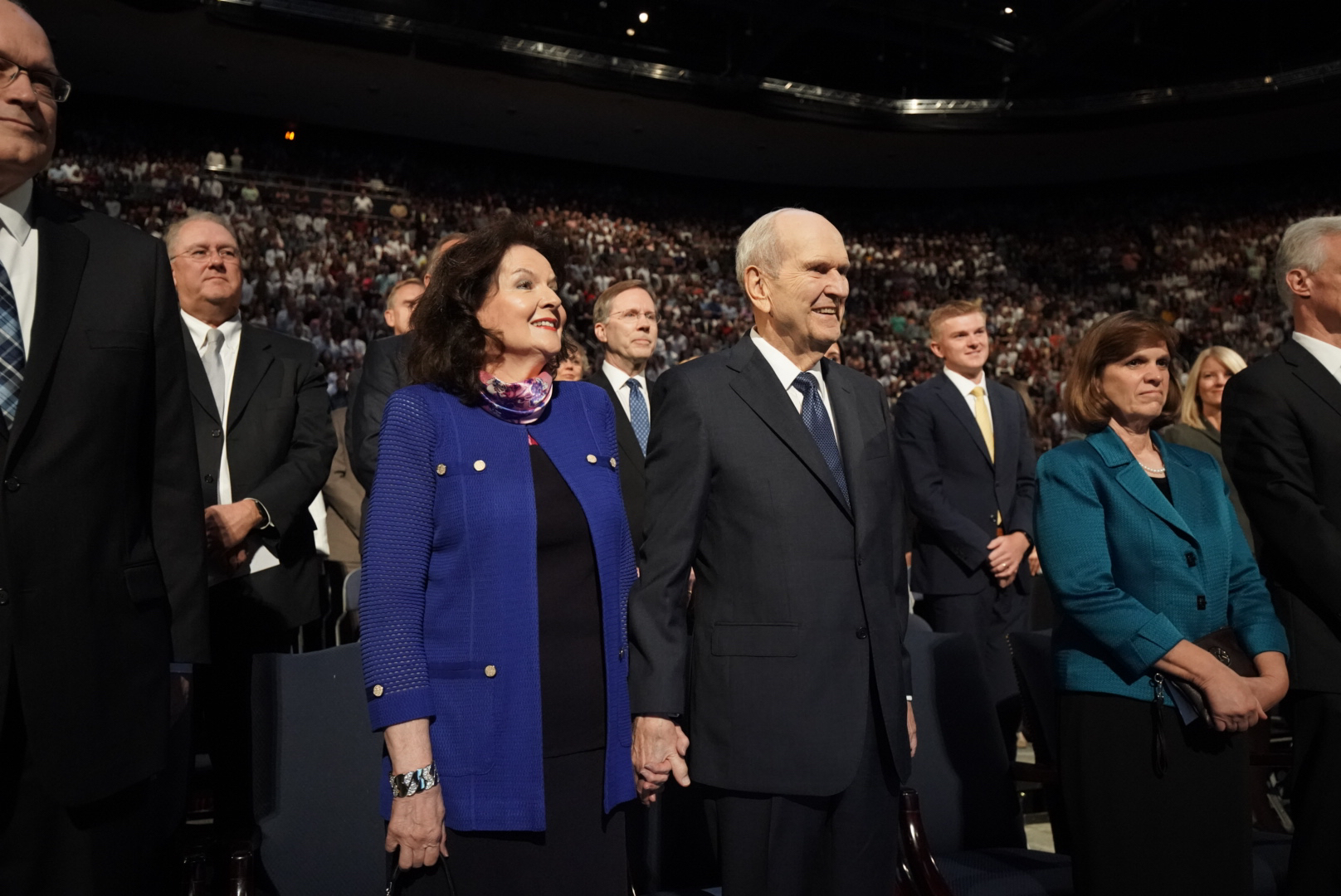 President Russell M. Nelson of The Church of Jesus Christ of Latter-day Saints and his wife, Sister Wendy Nelson, stand before speaking at a devotional at Brigham Young University in Provo on Tuesday, Sept. 17, 2019.