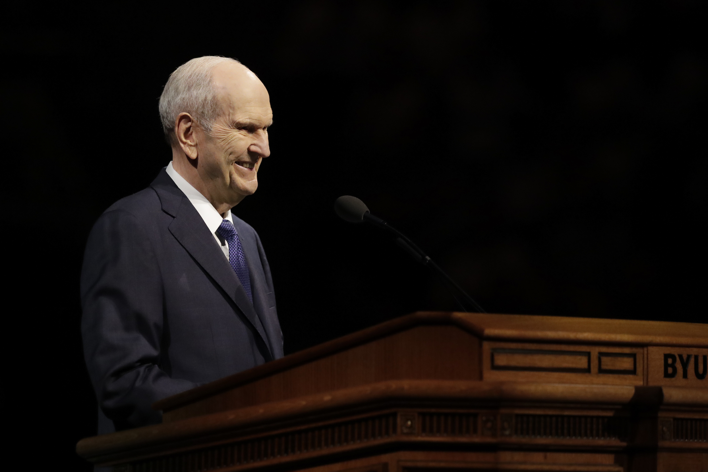President Russell M. Nelson speaks during a BYU campus devotional in the Marriott Center in Provo, Utah, on Tuesday, Sept. 17, 2019.