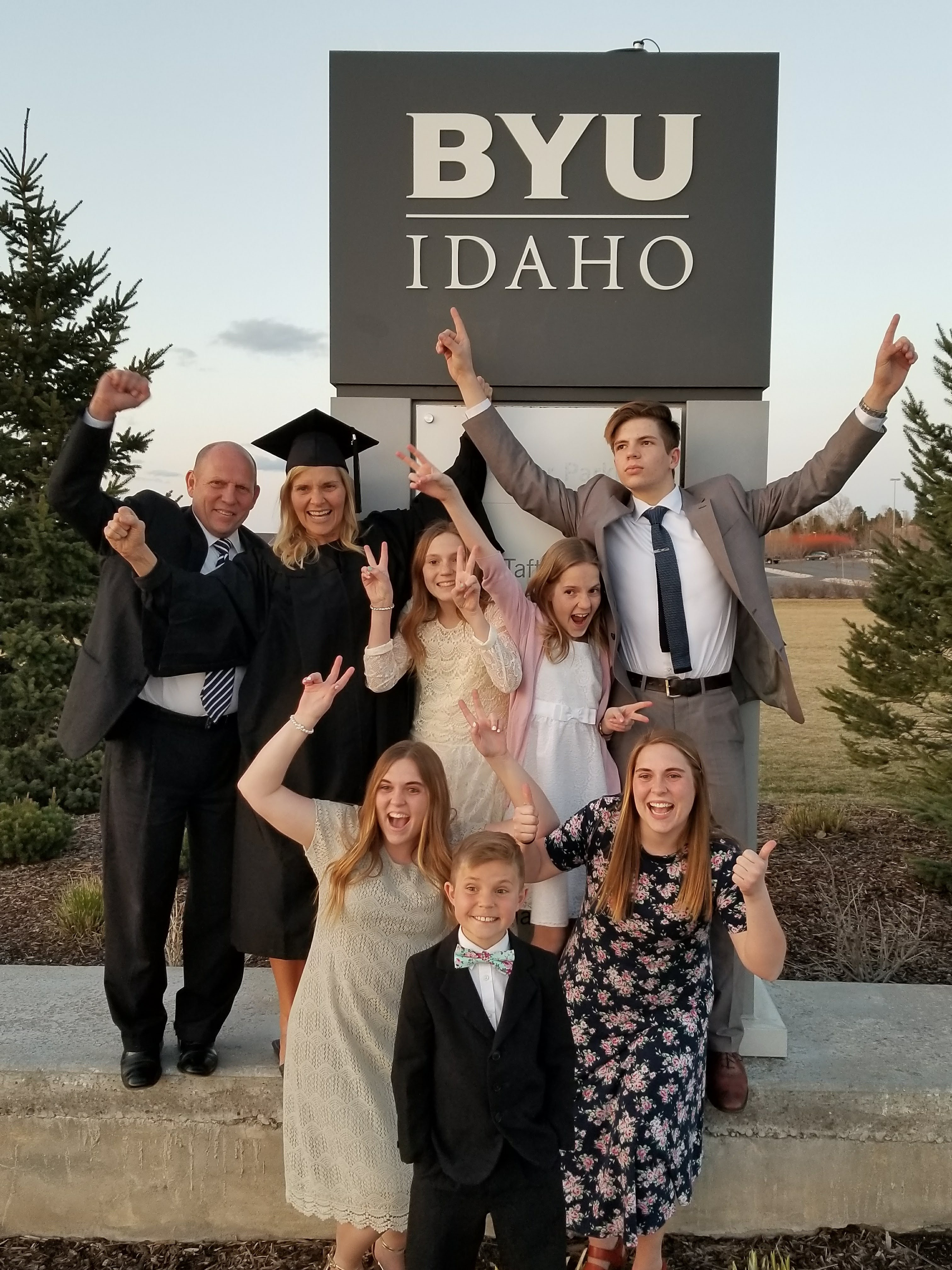 The Waldron family poses for a picture while celebrating Rolayne's graduation from BYU-Idaho in 2018.