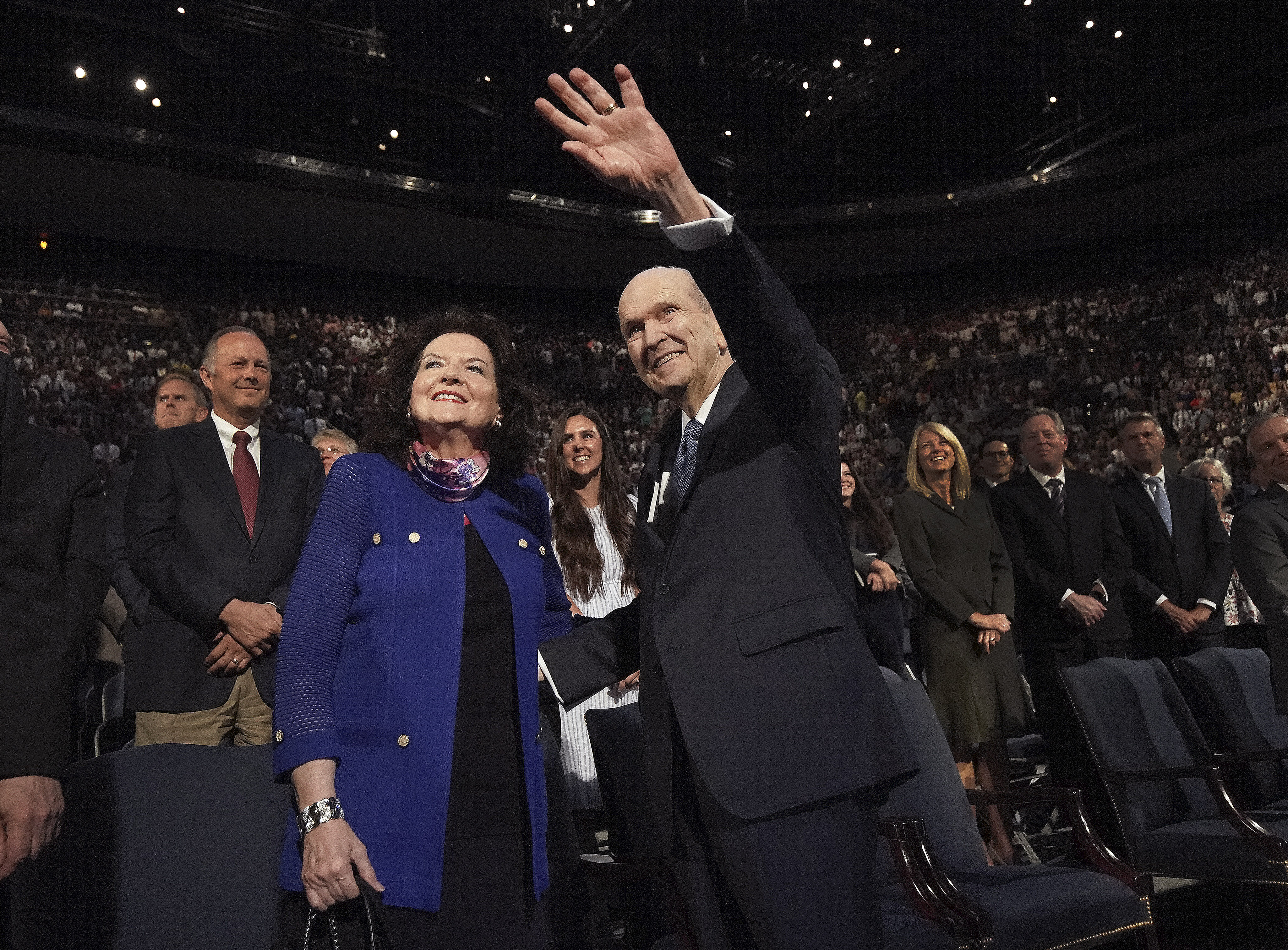 President Russell M. Nelson of The Church of Jesus Christ of Latter-day Saints and his wife, Sister Wendy Nelson, wave to students after a devotional at Brigham Young University in Provo on Tuesday, Sept. 17, 2019.