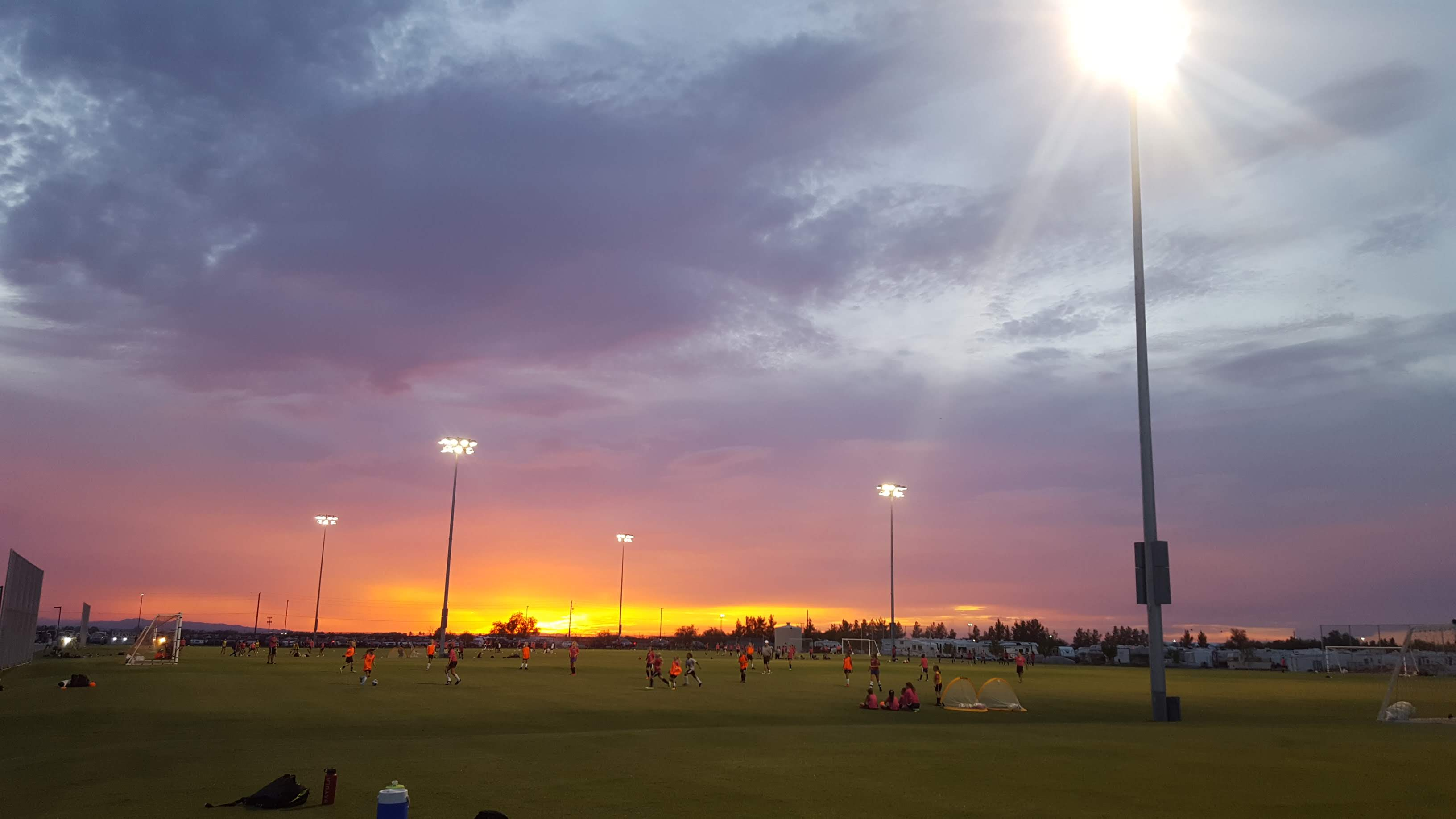 The sun sets on the NSFC fields in Mesa, Arizona.