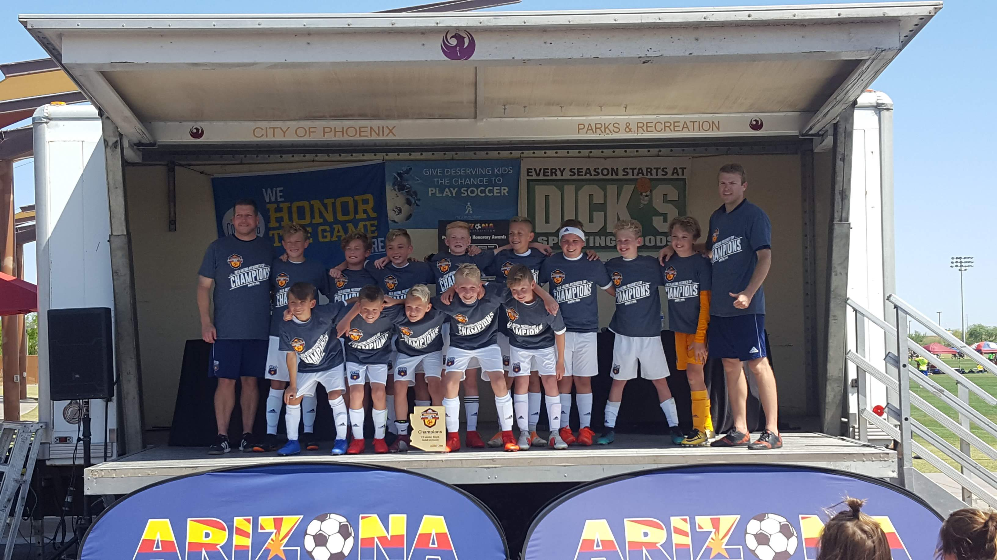 The 2007 Boys Blue soccer team poses after winning the Arizona President's Cup Tournament in April 2019 in Phoenix.