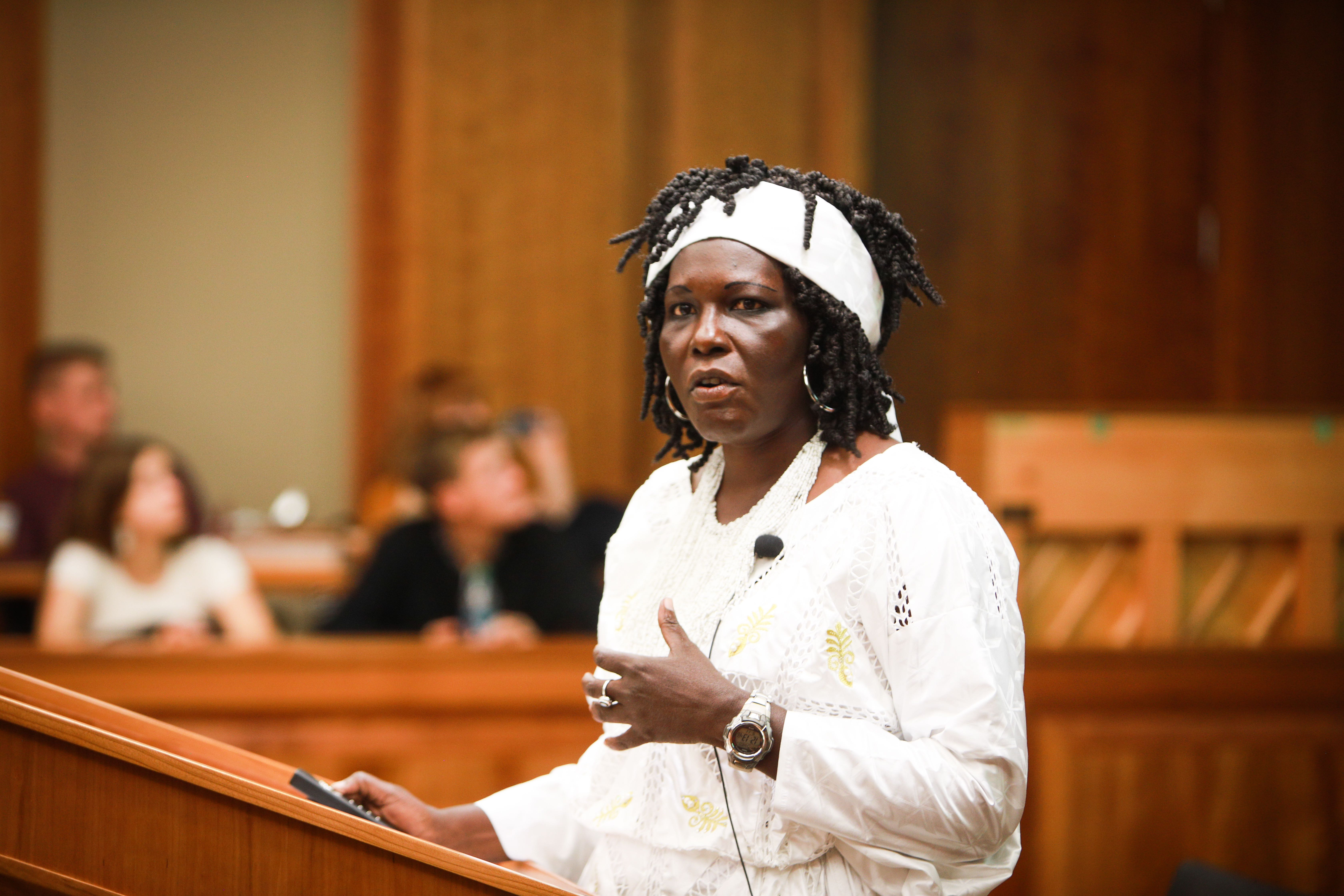 Sudan native Karak Miakol speaks at the BYU Law School on Sept. 11, 2019, after she was awarded BYU's Center for Conflict Resolution Peacemaker Award.