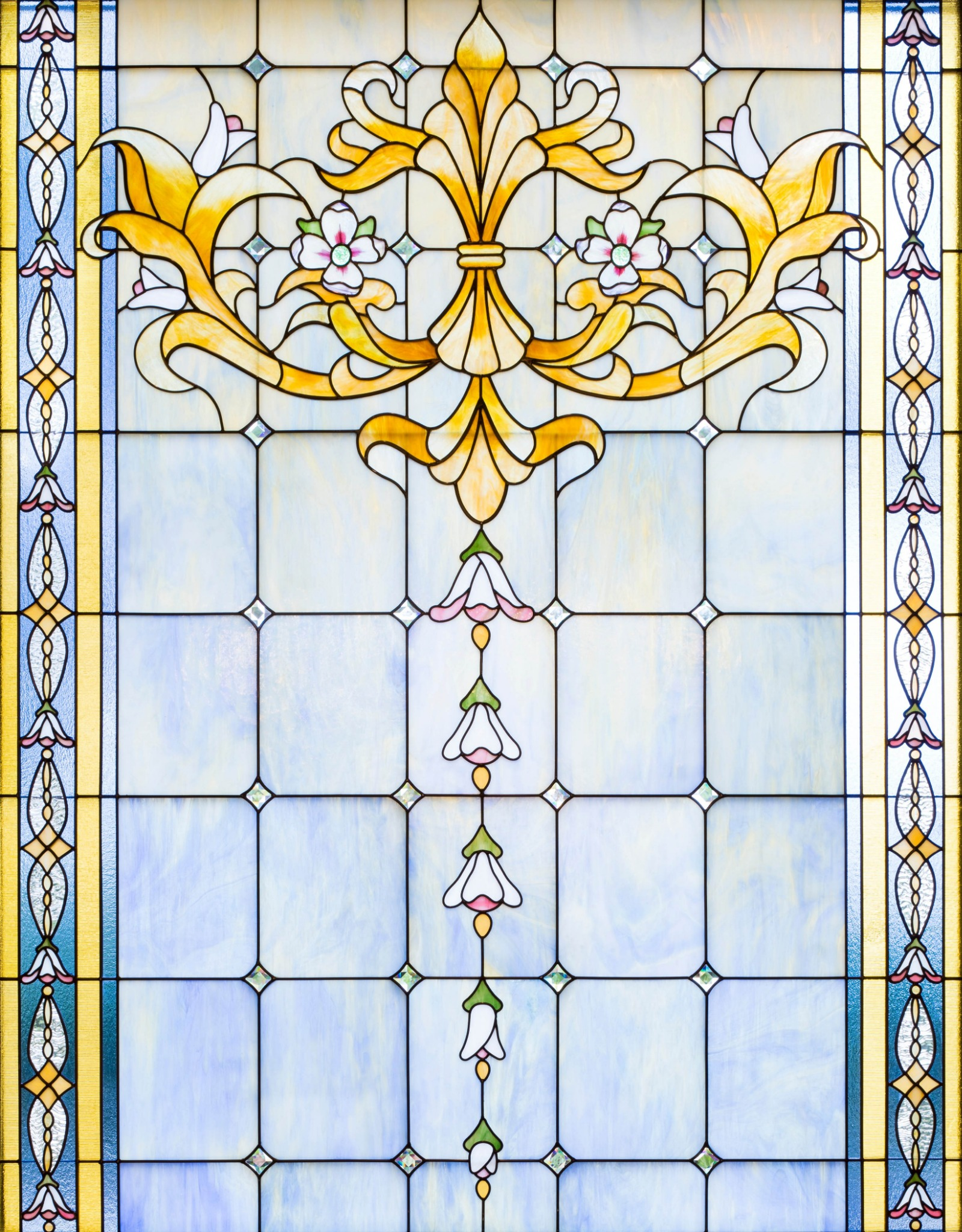 Stained glass windows are placed throughout the Raleigh North Carolina Temple.