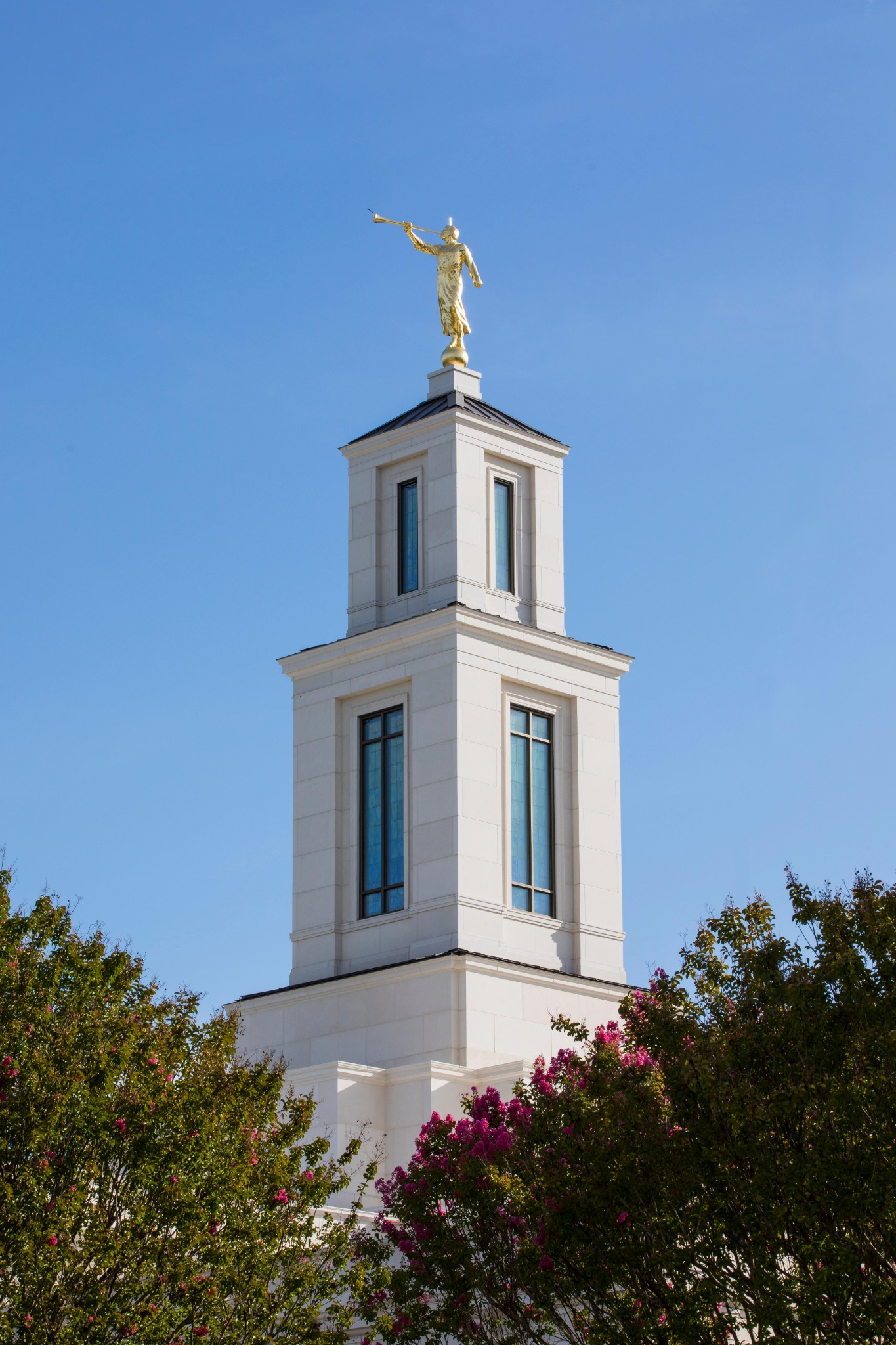 A statue of the angel Moroni, an ancient American prophet, is set on top of the Raleigh North Carolina Temple.