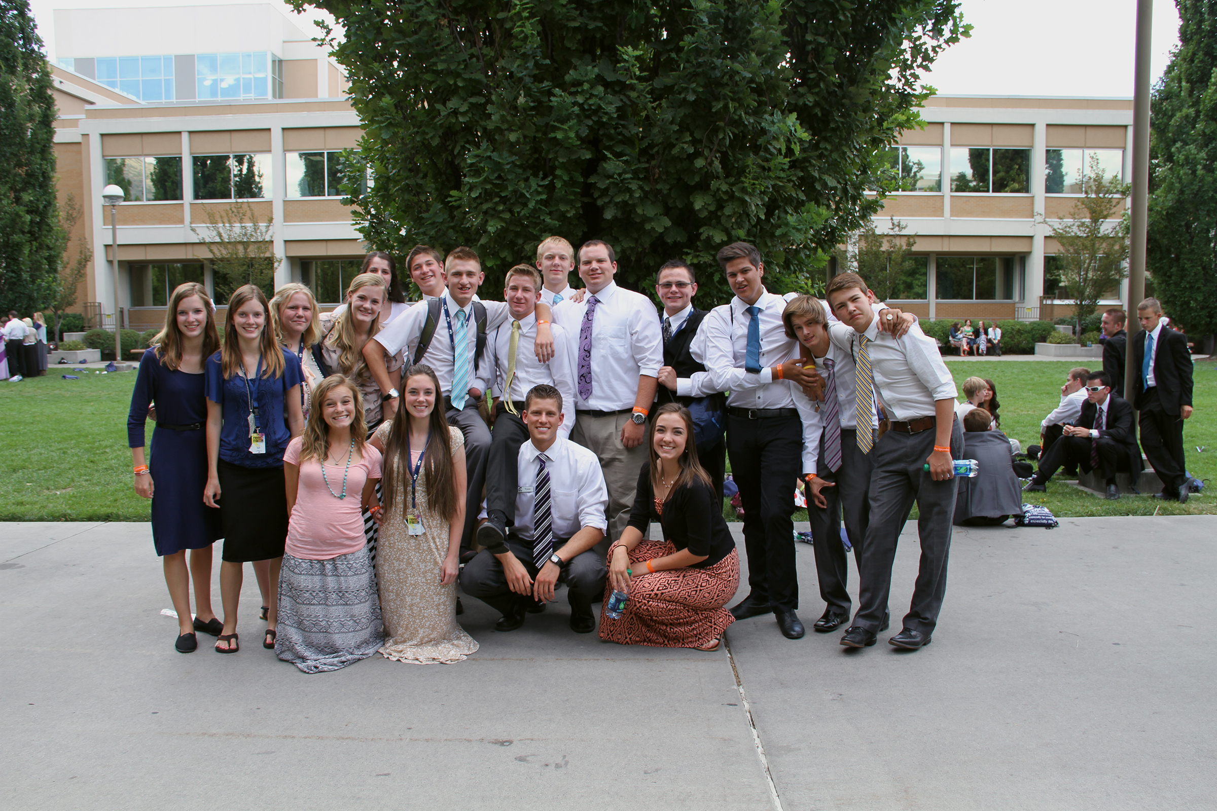 A group of young people gather for a photo at Especially for Youth at BYU.