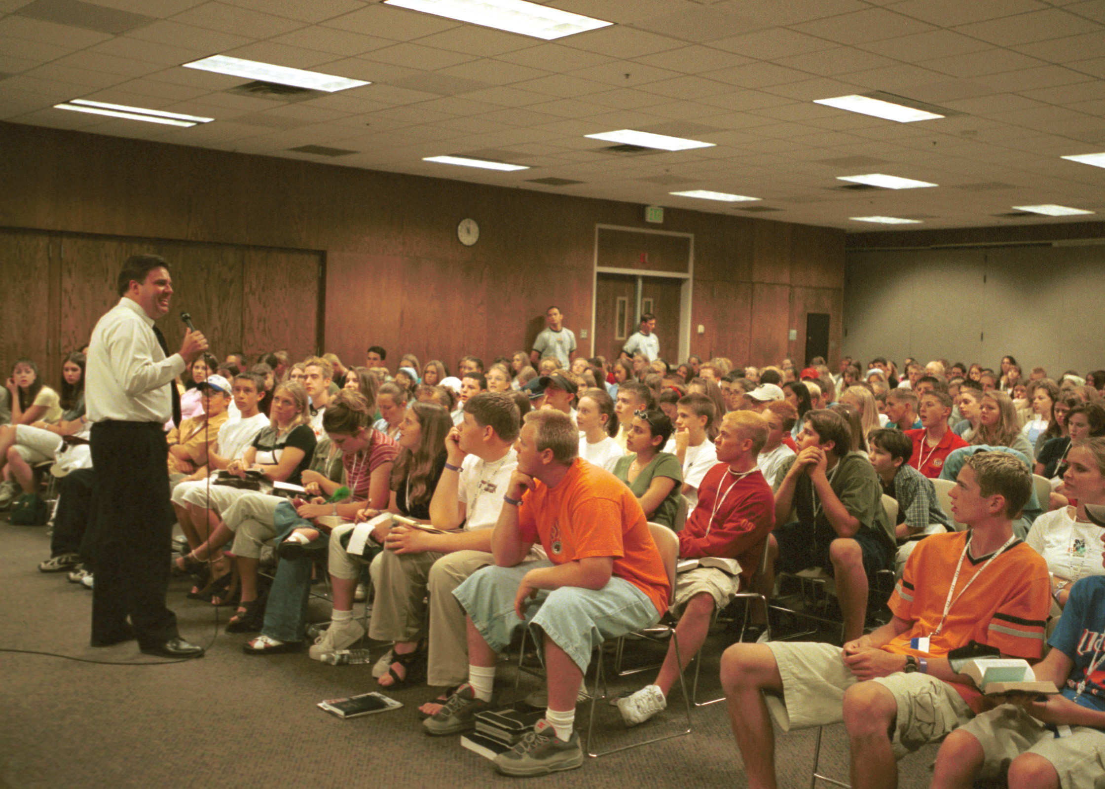 Brad Wilcox speaks to a classroom of youth at Especially for Youth in 2000.