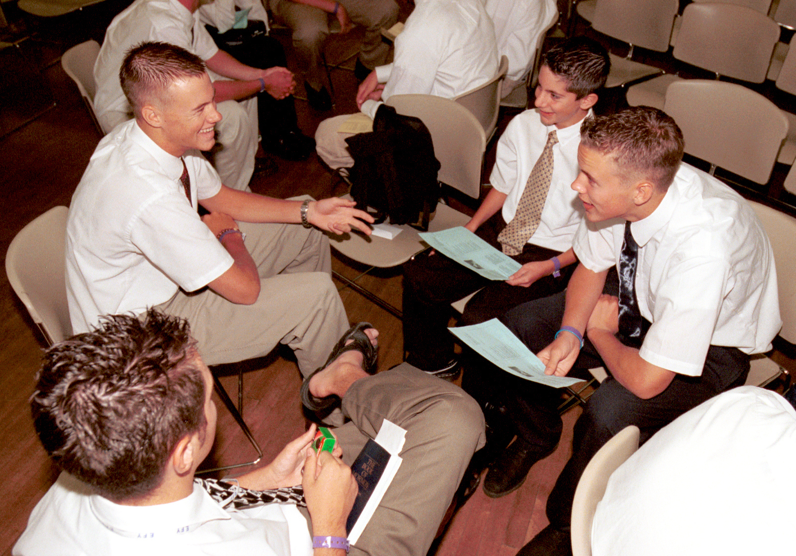 Young men discuss gospel topics during a class at Especially for Youth in 2000.