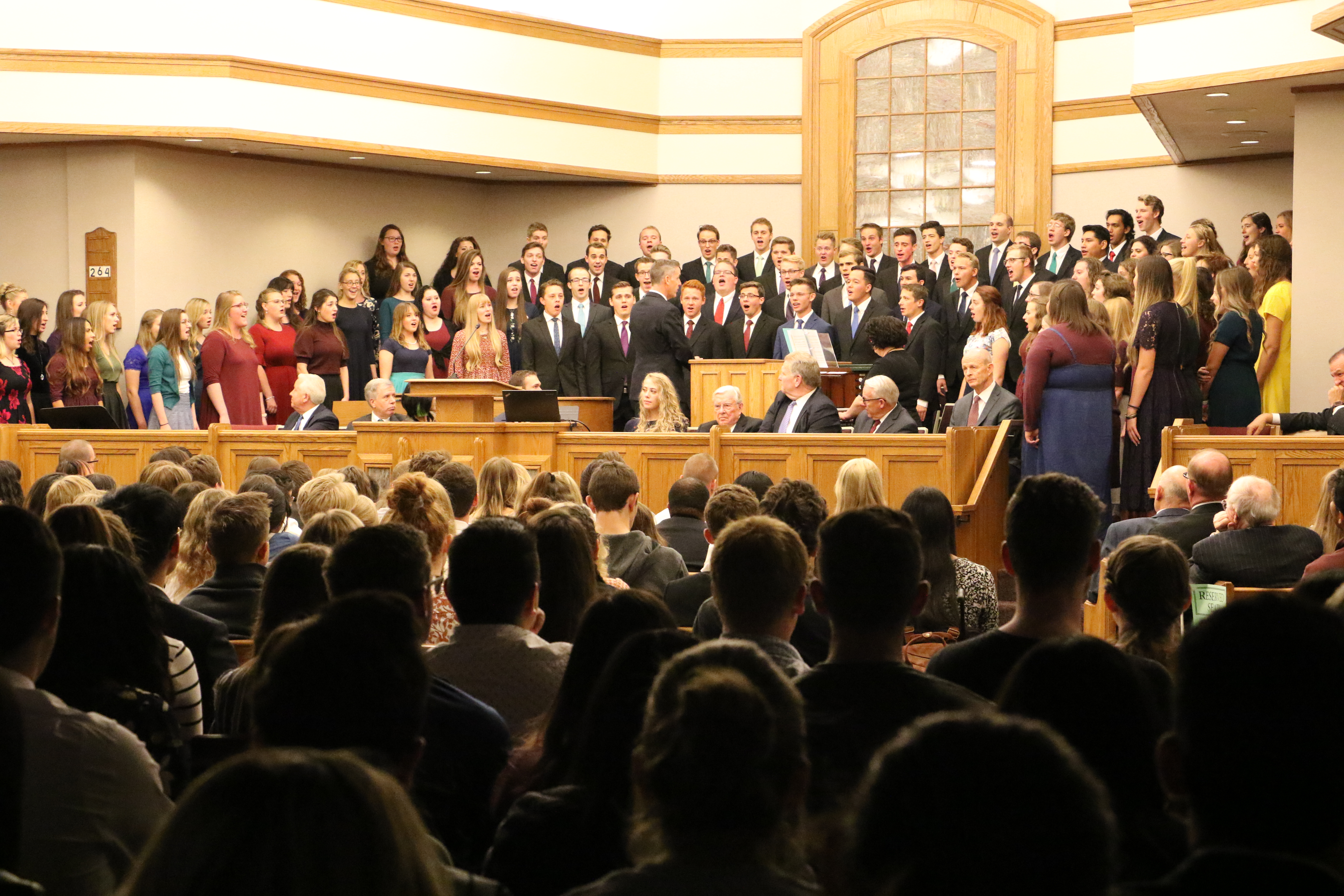 A student choir performs during a devotional at the institute of religion on the UVU campus on Friday, Sept. 20, 2019 where President M. Russell Ballard spoke.