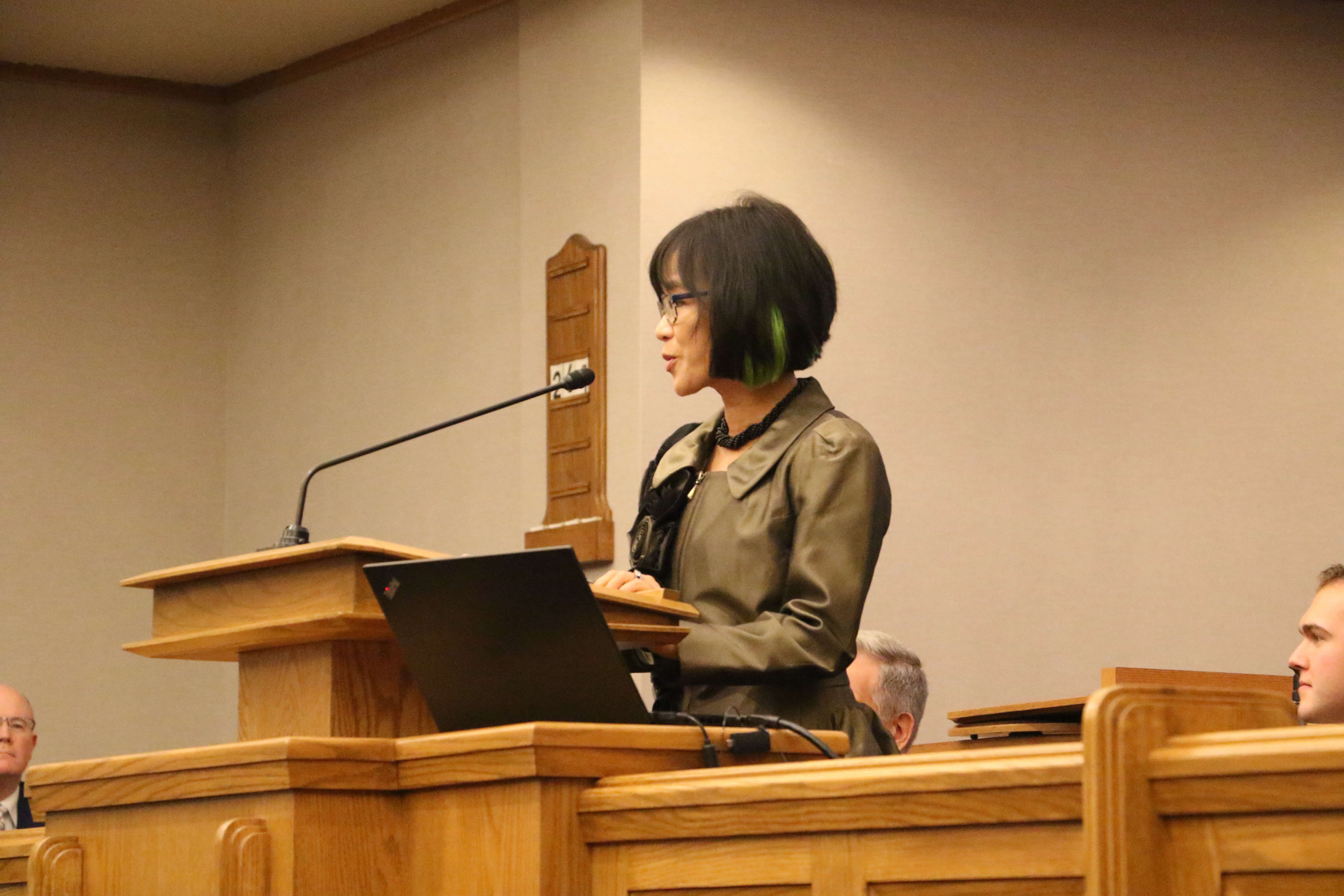 UVU President Astrid S. Tuminez speaks at a devotional on the UVU campus in Orem, Utah on Friday, Sept. 20, 2019.