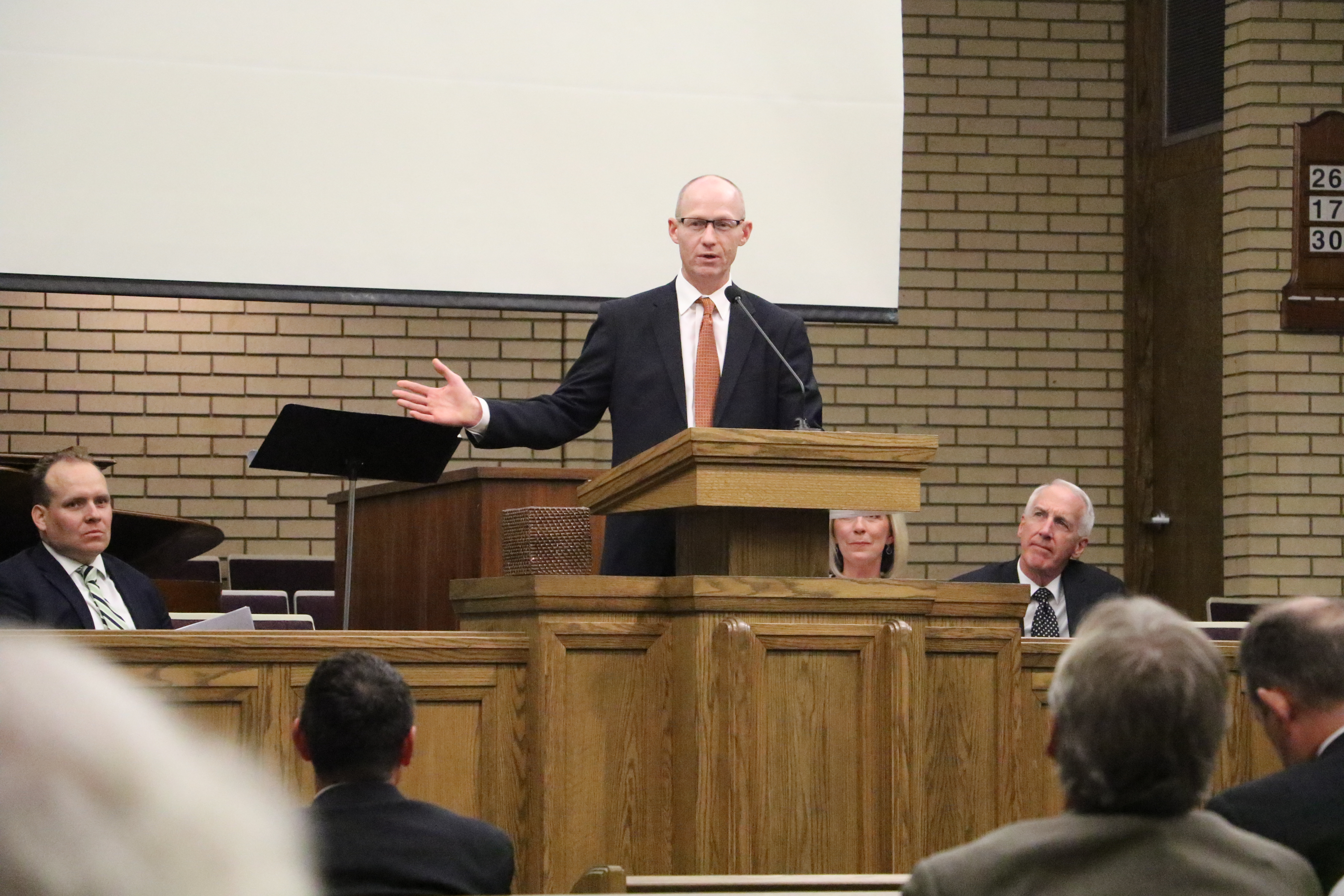 David D. Garner, a lawyer representing K-12 and post-secondary education institutions, speaks as part of a panel discussion following a devotional with Sister Joy D. Jones in Holladay, Utah, on Sept. 22, 2019.