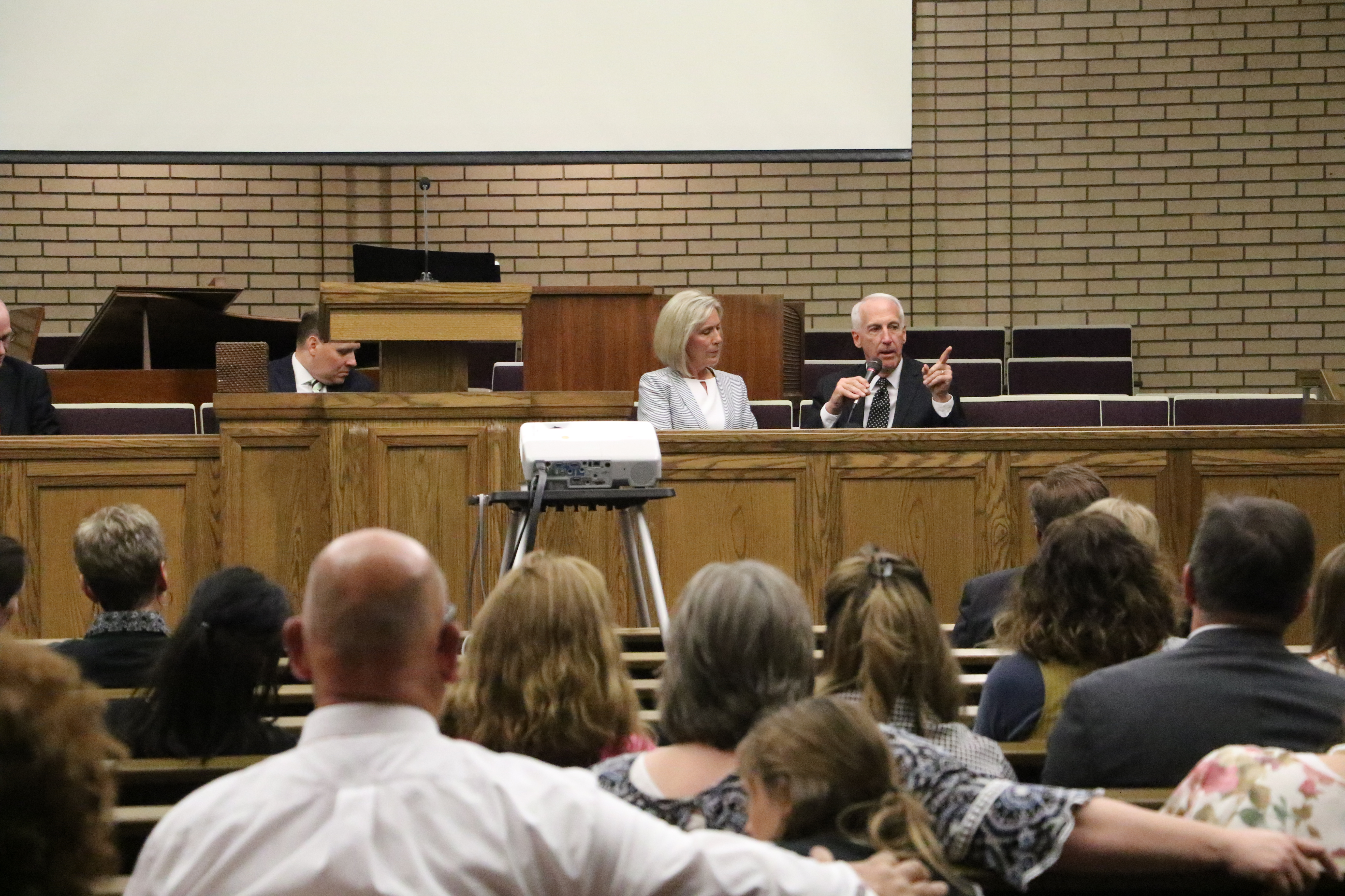 Sister Joy D. Jones and her husband Robert B. Jones answer questions as part of a panel discussion following a devotional on religious freedom and civic responsibility in Holladay, Utah, on Sept. 22, 2019.