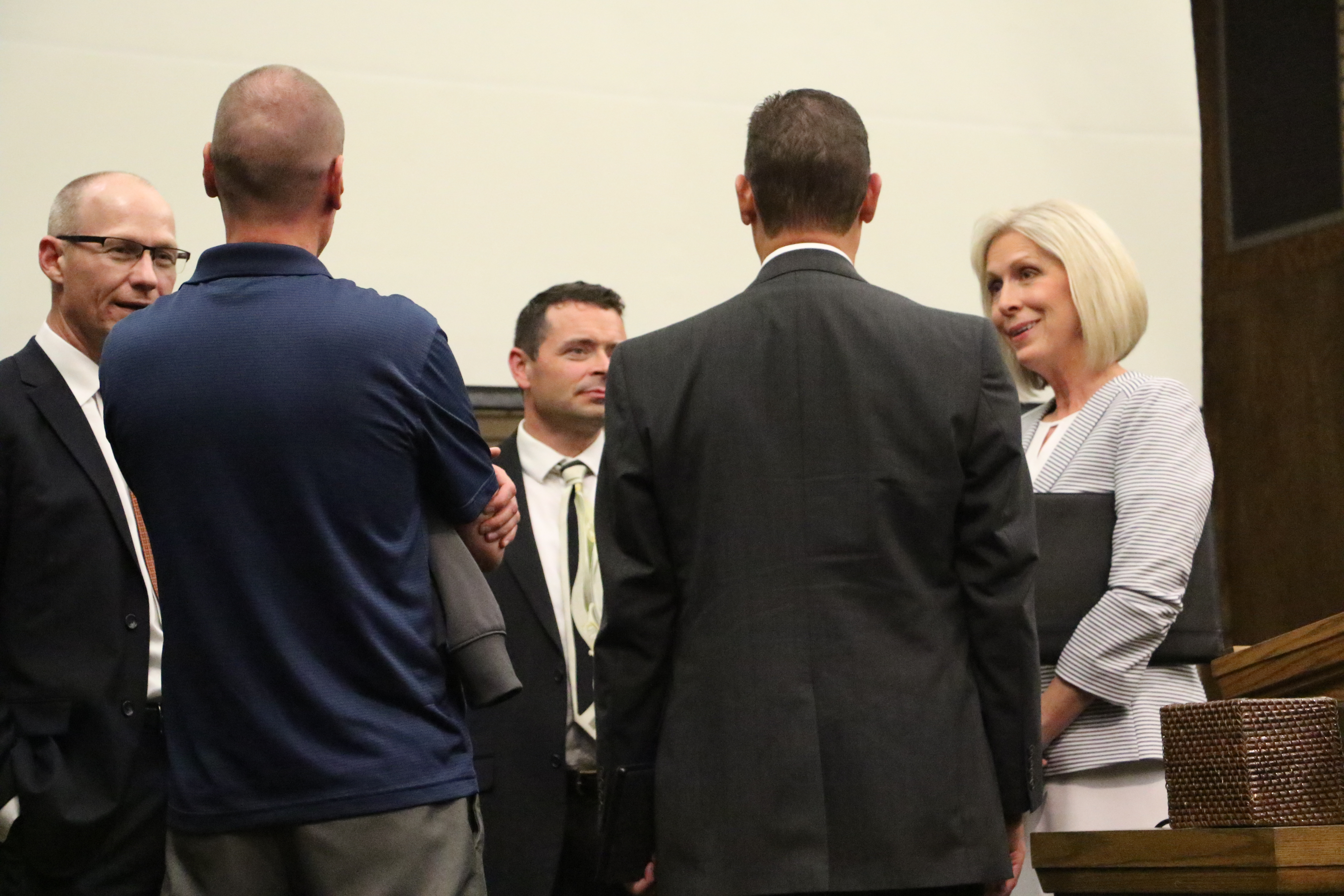 Sister Joy D. Jones speaks with Dr. Ryan S. Gardner, David Garner and others following a devotional and panel discussion on religious freedom and civic responsibility in Holladay, Utah, on Sept. 22, 2019.
