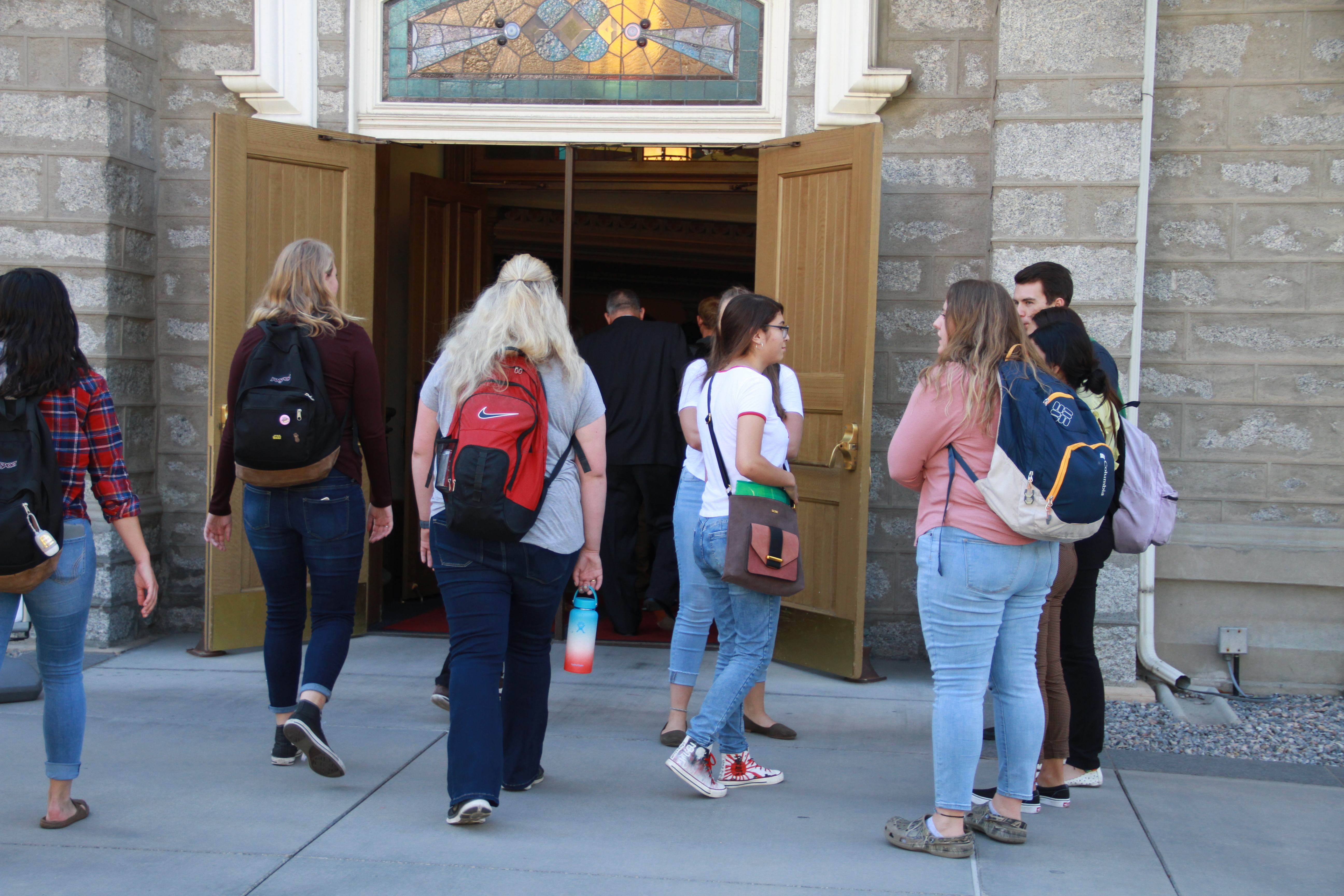 Students enter the Assembly Hall on Temple Square for a LDS Business College devotional on Sept. 24, 2019.