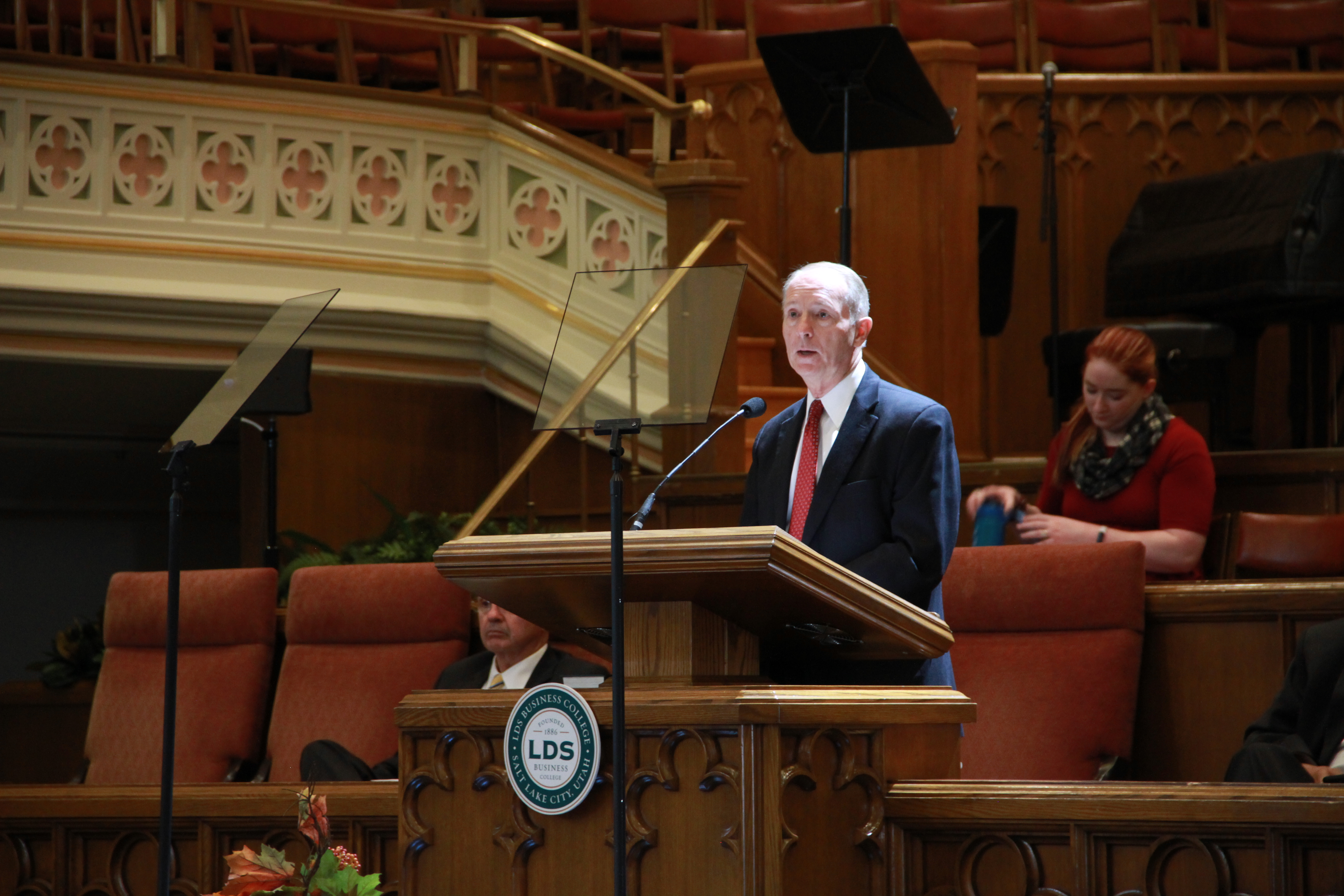 President Bruce C. Kusch speaks during a LDS Business College Devotional in the Assembly Hall on Temple Square on Sept. 24, 2019.