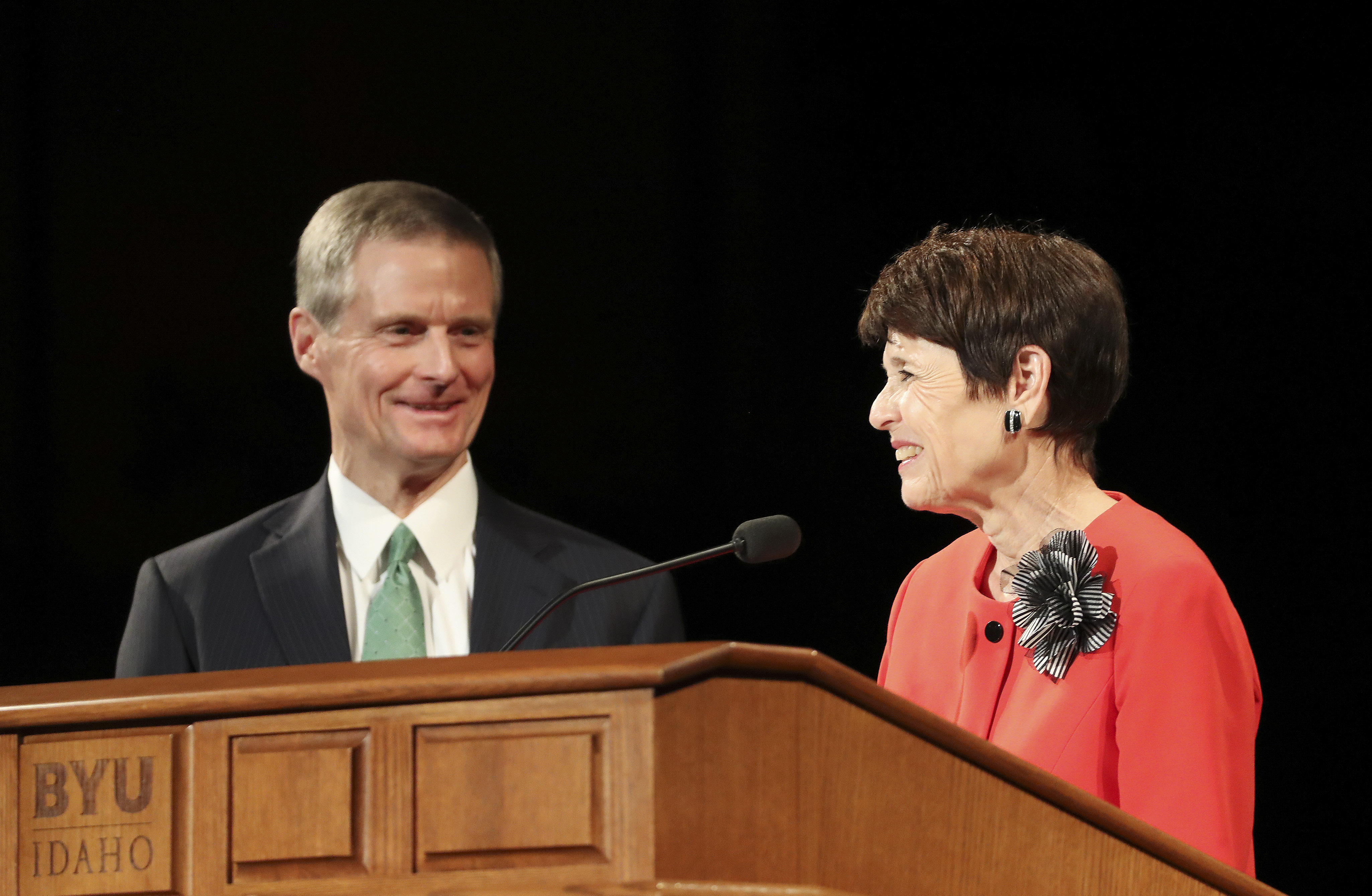 Elder David A. Bednar, of the Quorum of the Twelve Apostles of The Church of Jesus Christ of Latter-day Saints, and his wife, Sister Susan Bednar, speak during a fireside at BYU Idaho in Rexburg, Idaho, on Sunday, Sept. 22, 2019.