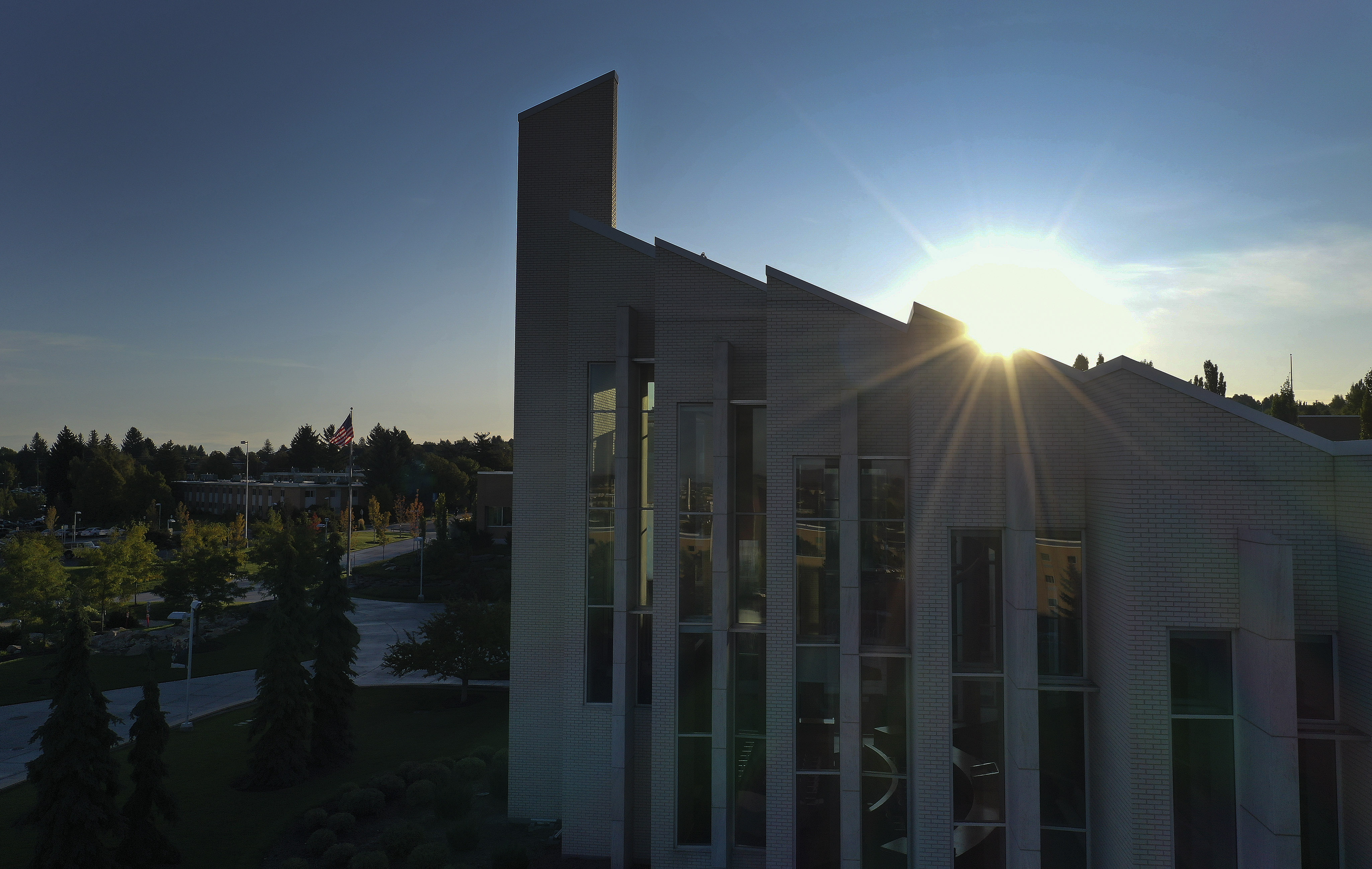 The sun rises on BYU Idaho campus in Rexburg on Monday, Sept. 23, 2019.