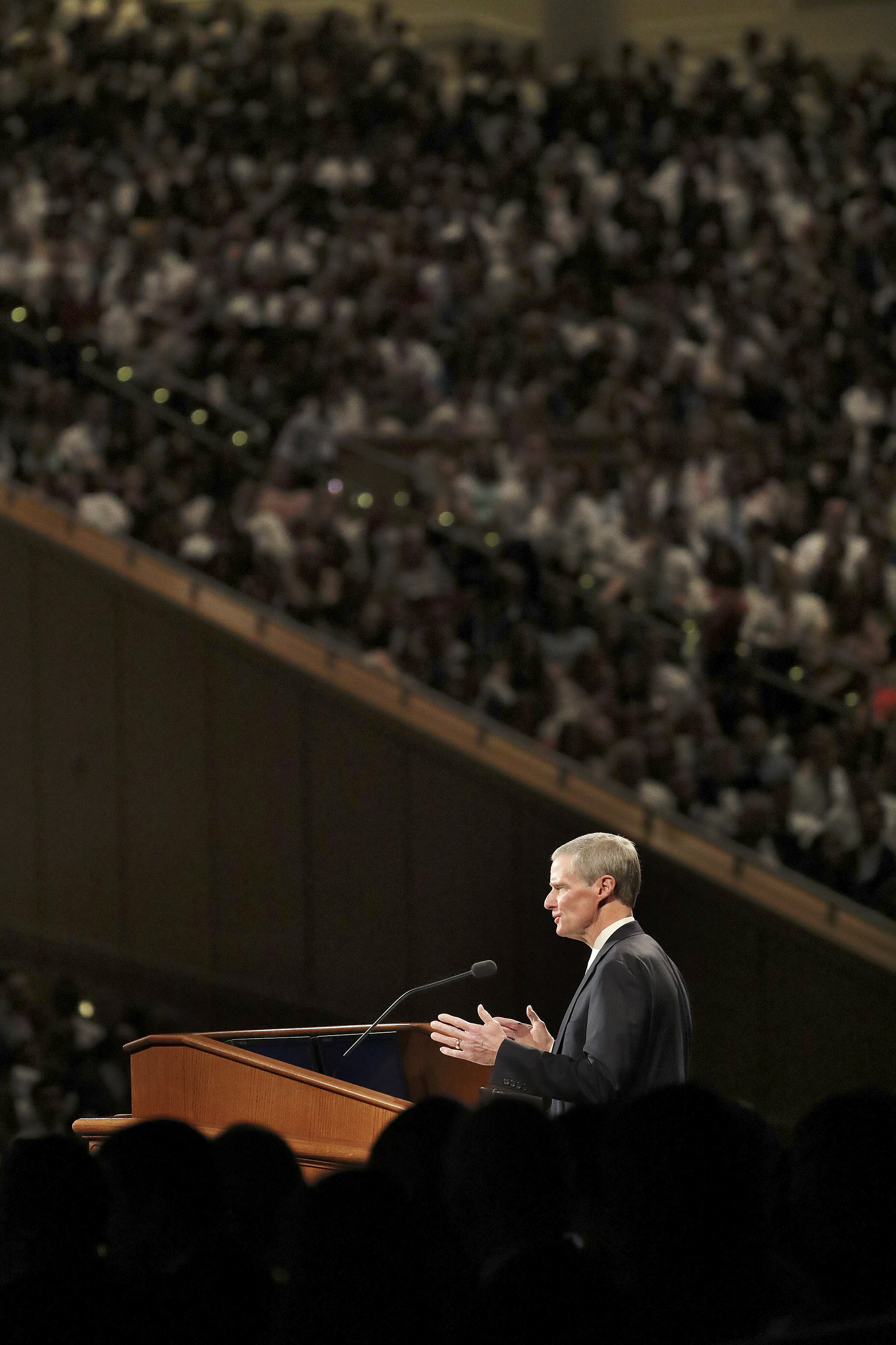 Elder David A. Bednar, of the Quorum of the Twelve Apostles of The Church of Jesus Christ of Latter-day Saints, speaks during a fireside at BYU Idaho in Rexburg on Sunday, Sept. 22, 2019.