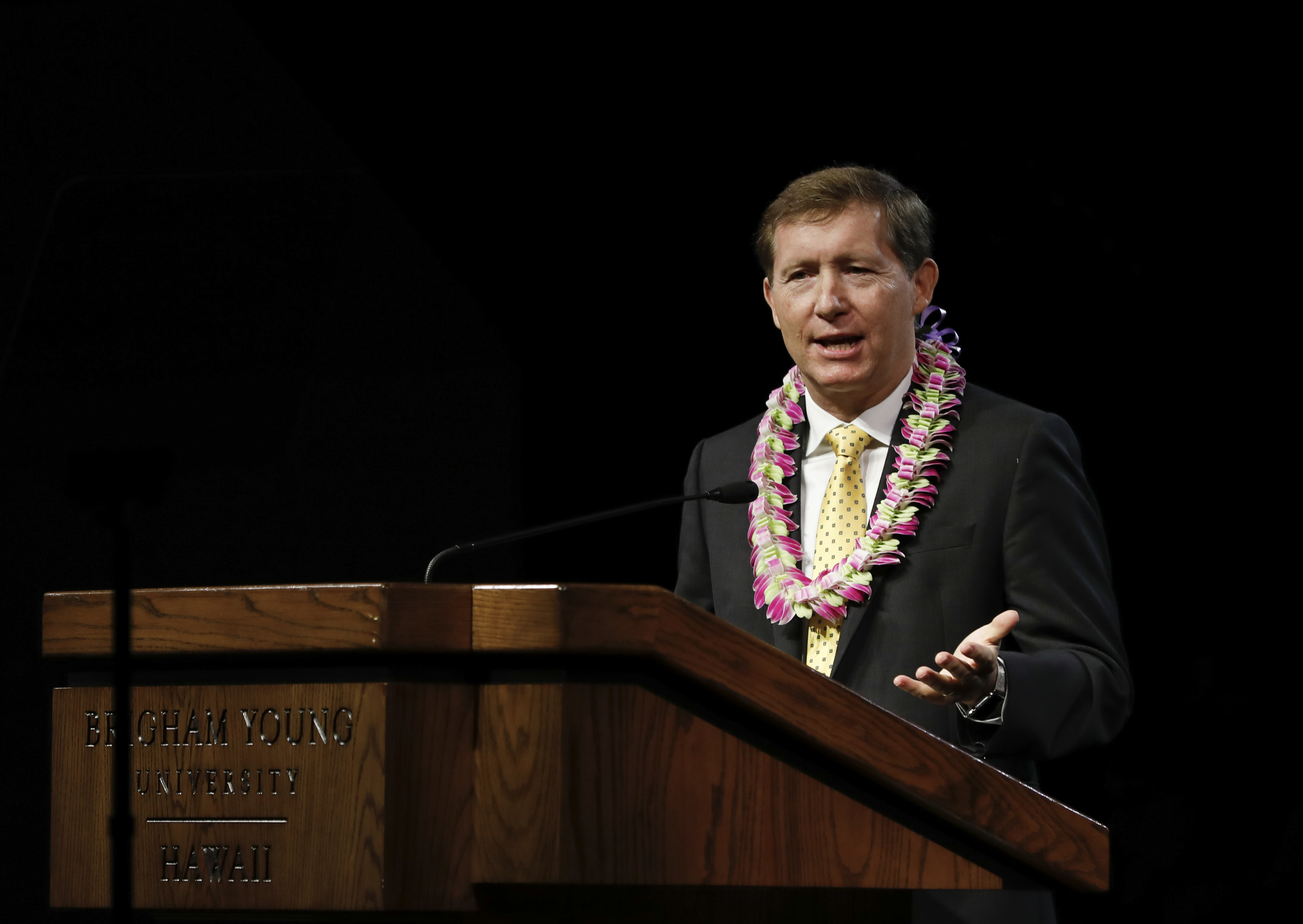 Elder L. Todd Budge, General Authority Seventy, speaks during a BYU-Hawaii devotional on Tuesday, Sept. 24, 2019.