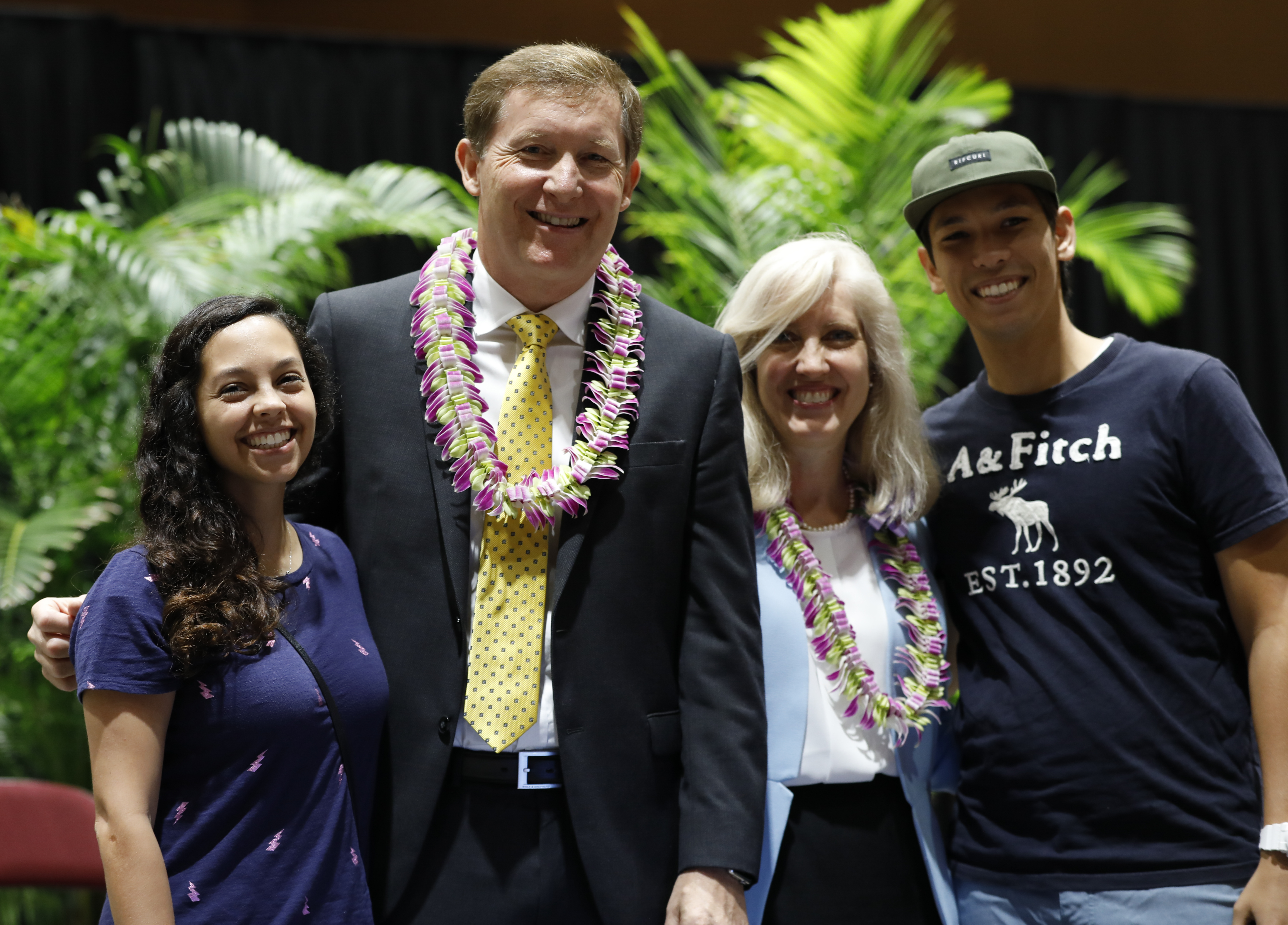 Elder L. Todd Budge and his wife, Lori, stand with Melissa Tobon Dorff, from Columbia, and her husband, John Dorff Jr., at BYU-Hawaii on Tuesday, Sept. 24, 2019. Elder Budge was John Dorff's mission president in Japan.