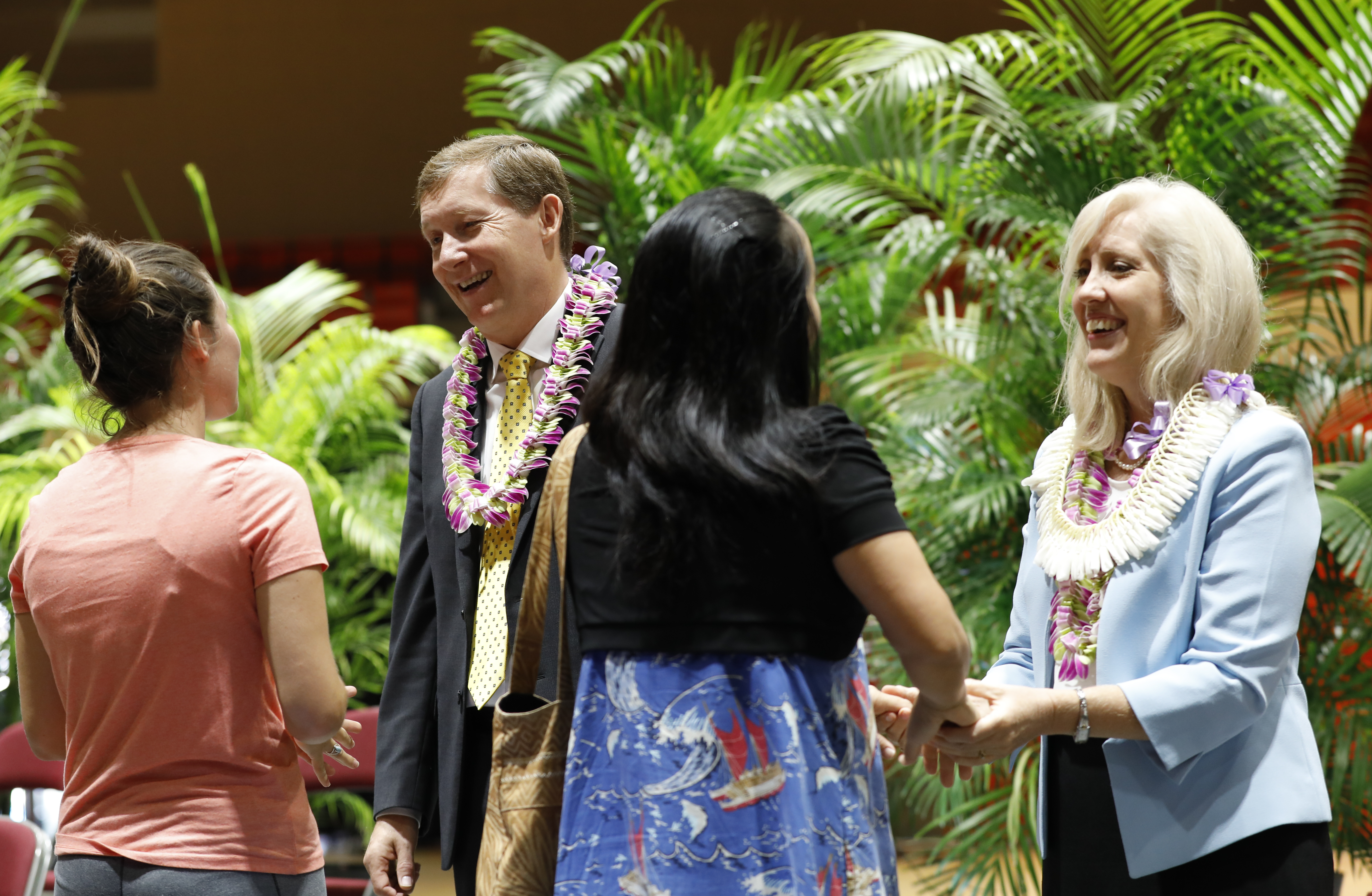 Elder L. Todd Budge greets students following his devotional address at BYU-Hawaii on Tuesday, Sept. 24, 2019.