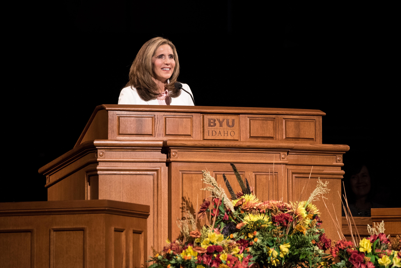 Sister Kelly Eyring speaks at Devotional in the BYU-Idaho Center on September 24, 2019.