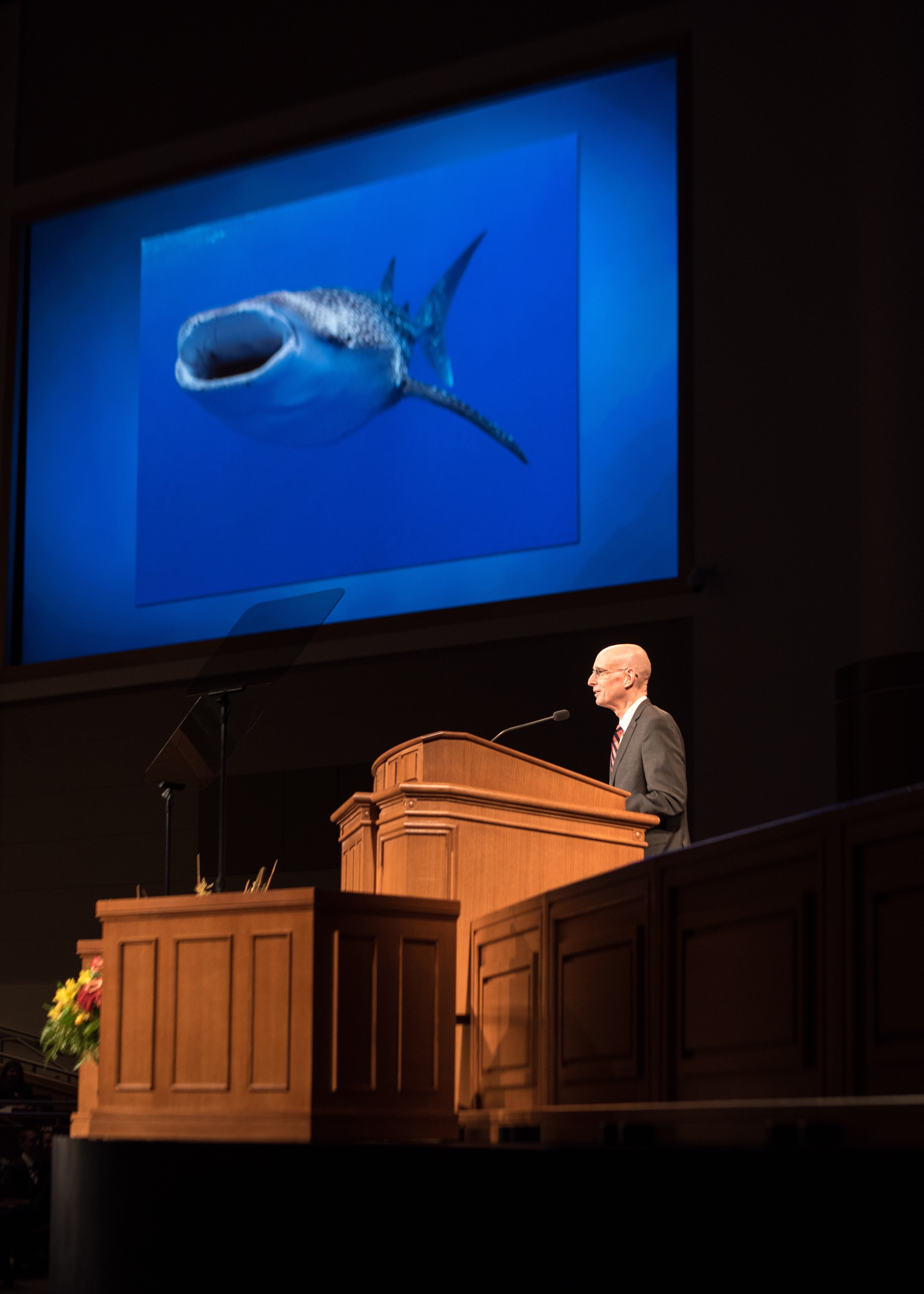President Henry J. Eyring uses an image of a whale shark to show how it feels to learn to water ski in his BYU-Idaho Devotional on September 24, 2019.