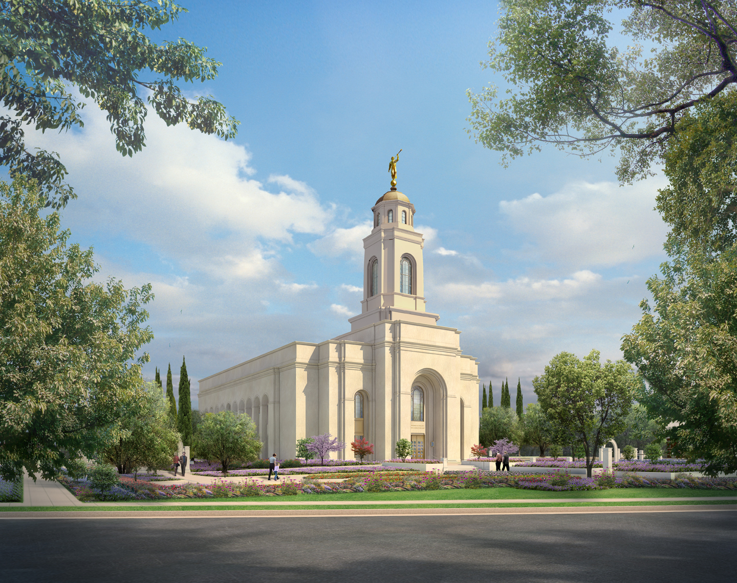 An exterior rendering of the Feather River California Temple of The Church of Jesus Christ of Latter-day Saints.