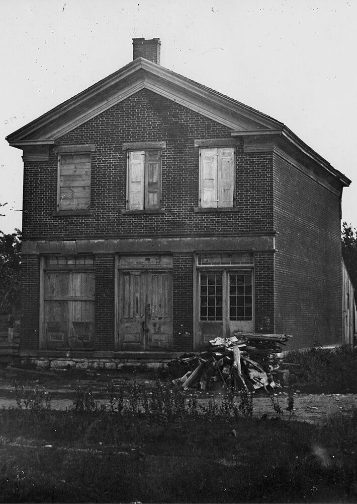 Joseph Smith's brick store circa 1886 in Nauvoo, Illinois.