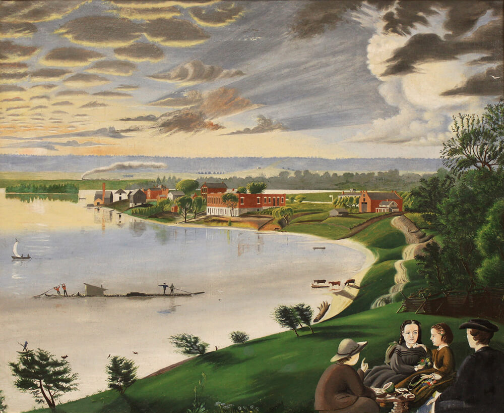 "David Hyrum Smith, son of Emma and Joseph Smith, painted this Nauvoo, Illinois, scene sometime before 1869. It's titled ""Bend in the River,"" and is featured in the ""Documents, Vol. 9."""