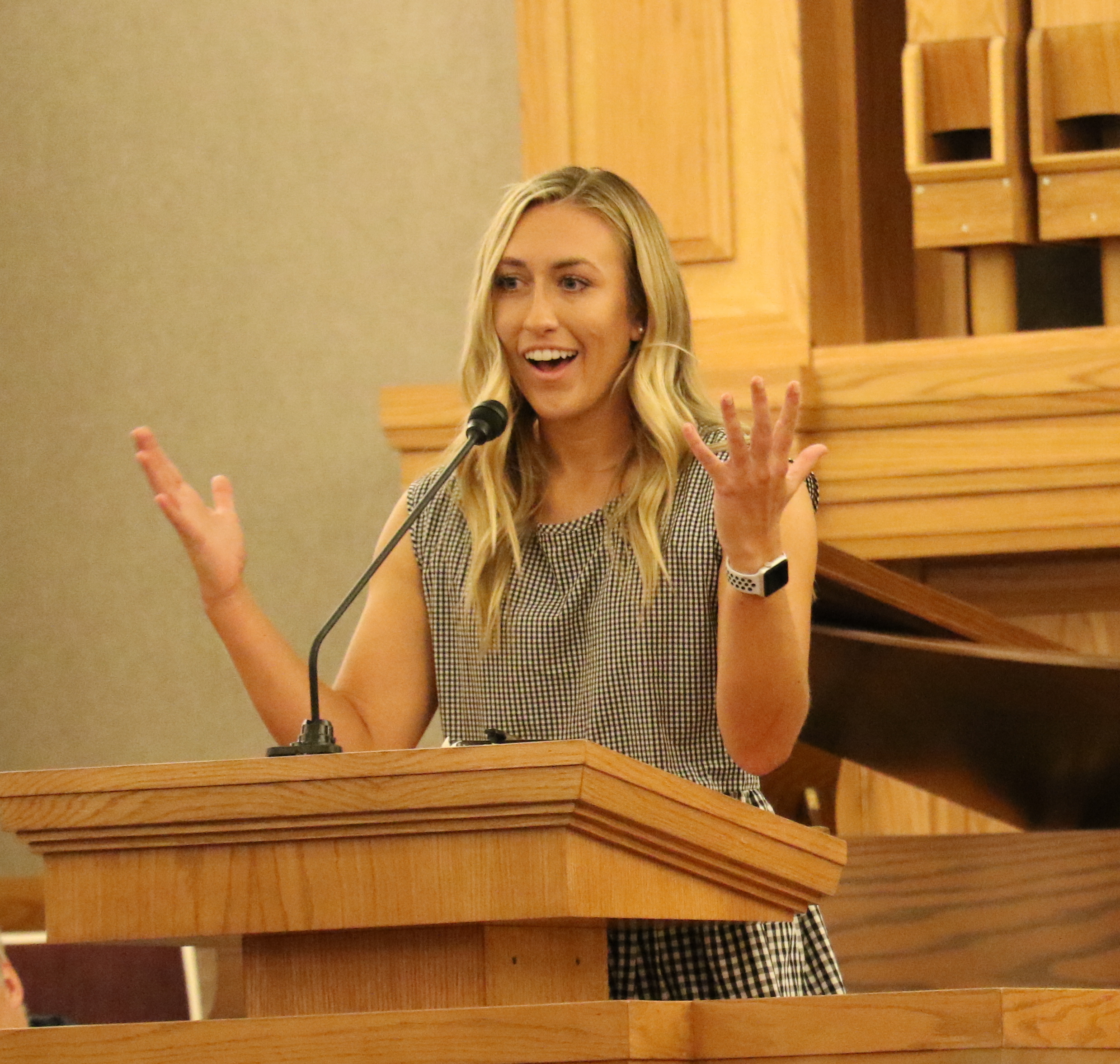Utah beach volleyball player Olivia Teerlink talks about overcoming trials at a Sept. 27, 2019, devotional at the University of Utah.