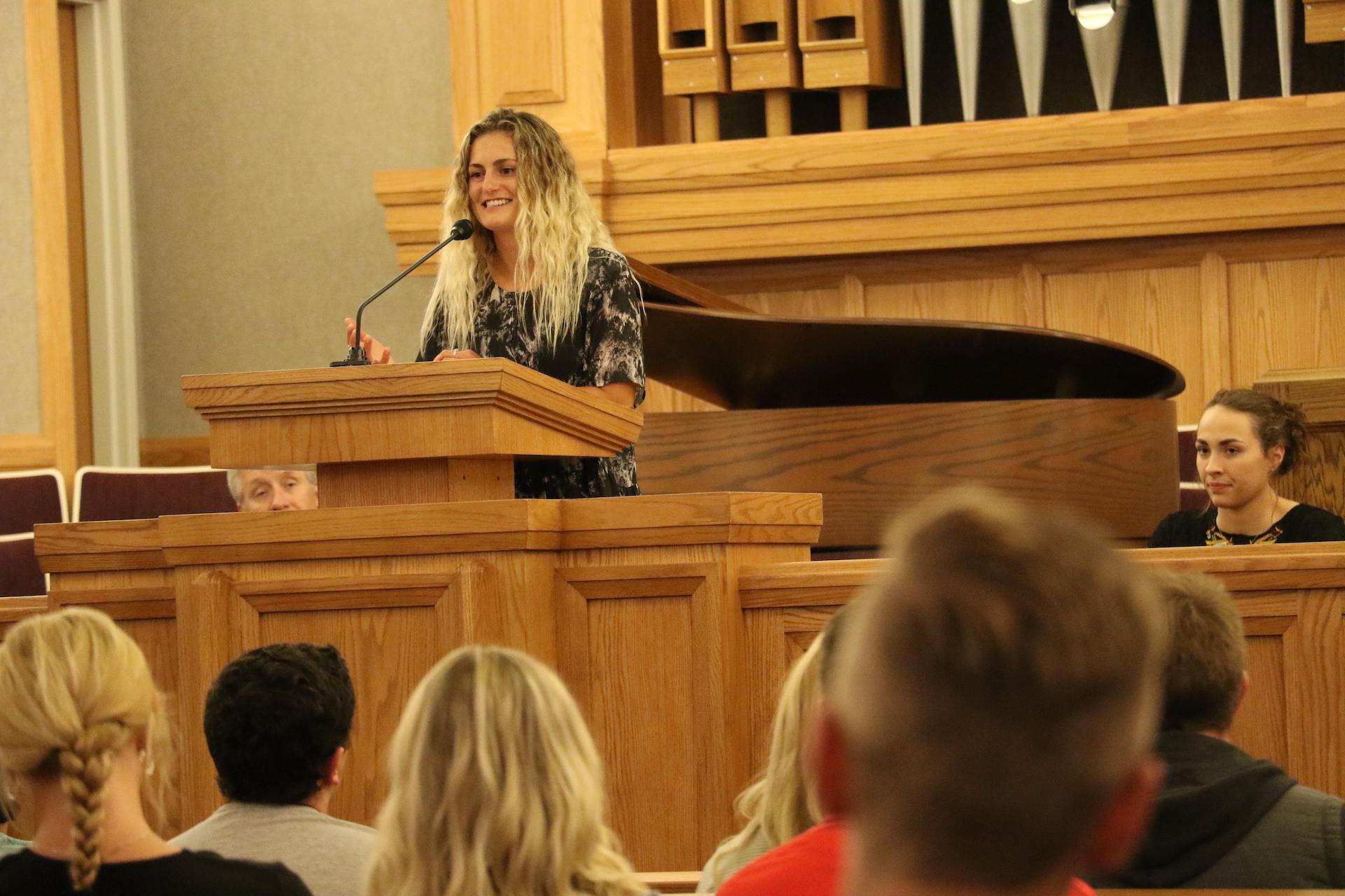 Ute soccer midfielder Eden Jacobsen speak at the athlete devotional at the University of Utah on Sept. 27, 2019.