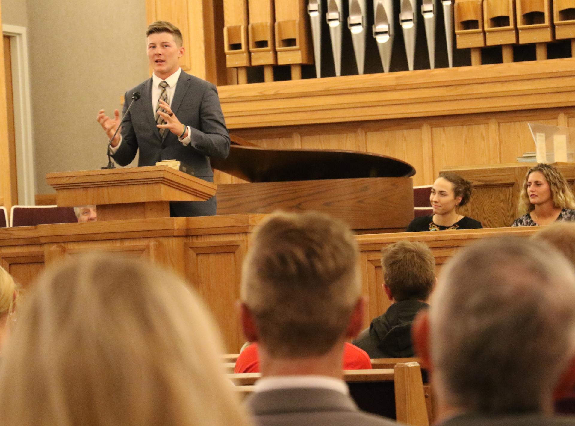 Utah quarterback Zach Hymas speaks at the Sept 27, 2019, athlete devotional at the Institute of Religion at the University of Utah.