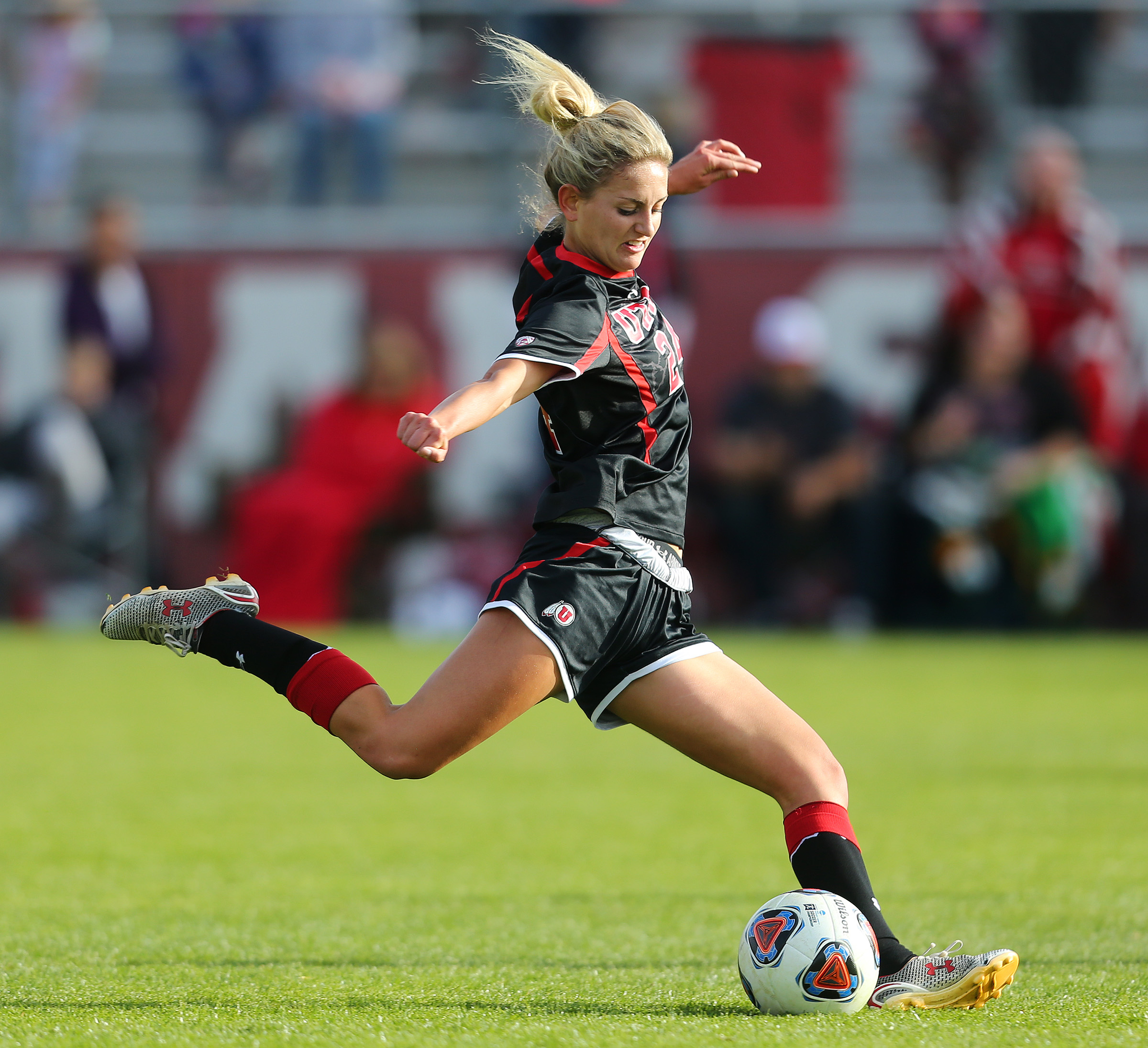 Utah Eden Jacobsen (24) tries a shot on goal as The University of Utah and Texas Tech play in NCAA tournament soccer action in Salt Lake City on Saturday, Nov. 12, 2016.