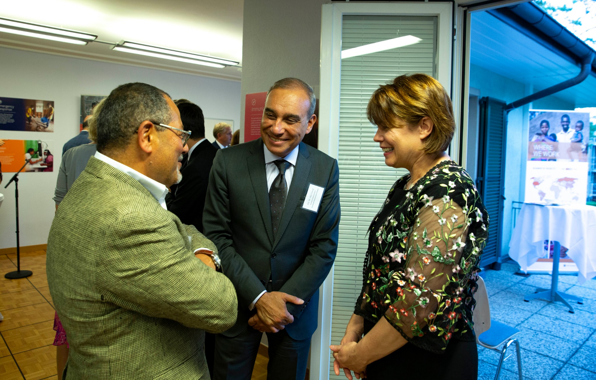 Sister Sharon Eubank, president of Latter-day Saint Charities and first counselor in the Relief Society general presidency, speaks to Ibrahim Salama, left, chief of the U.N. Office of the High Commissioner, and H.E. Mr. Alaa Zakaria Youssef, right, permanent representative of Egypt, while attending a reception in Geneva, Switzerland, on Sept. 16, 2019.