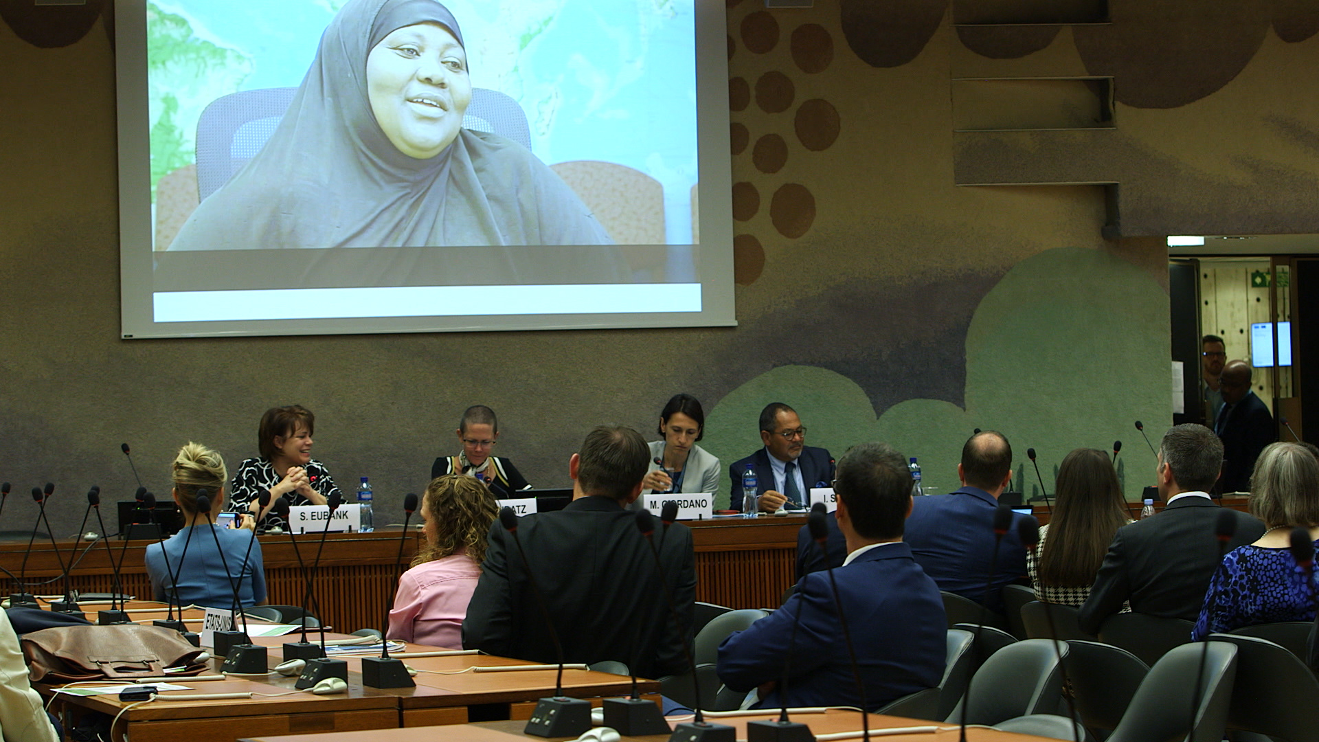 Sister Sharon Eubank, president of Latter-day Saint Charities, leads a panel discussion at the U.N. in Geneva, Tuesday, Sept. 17, 2019.