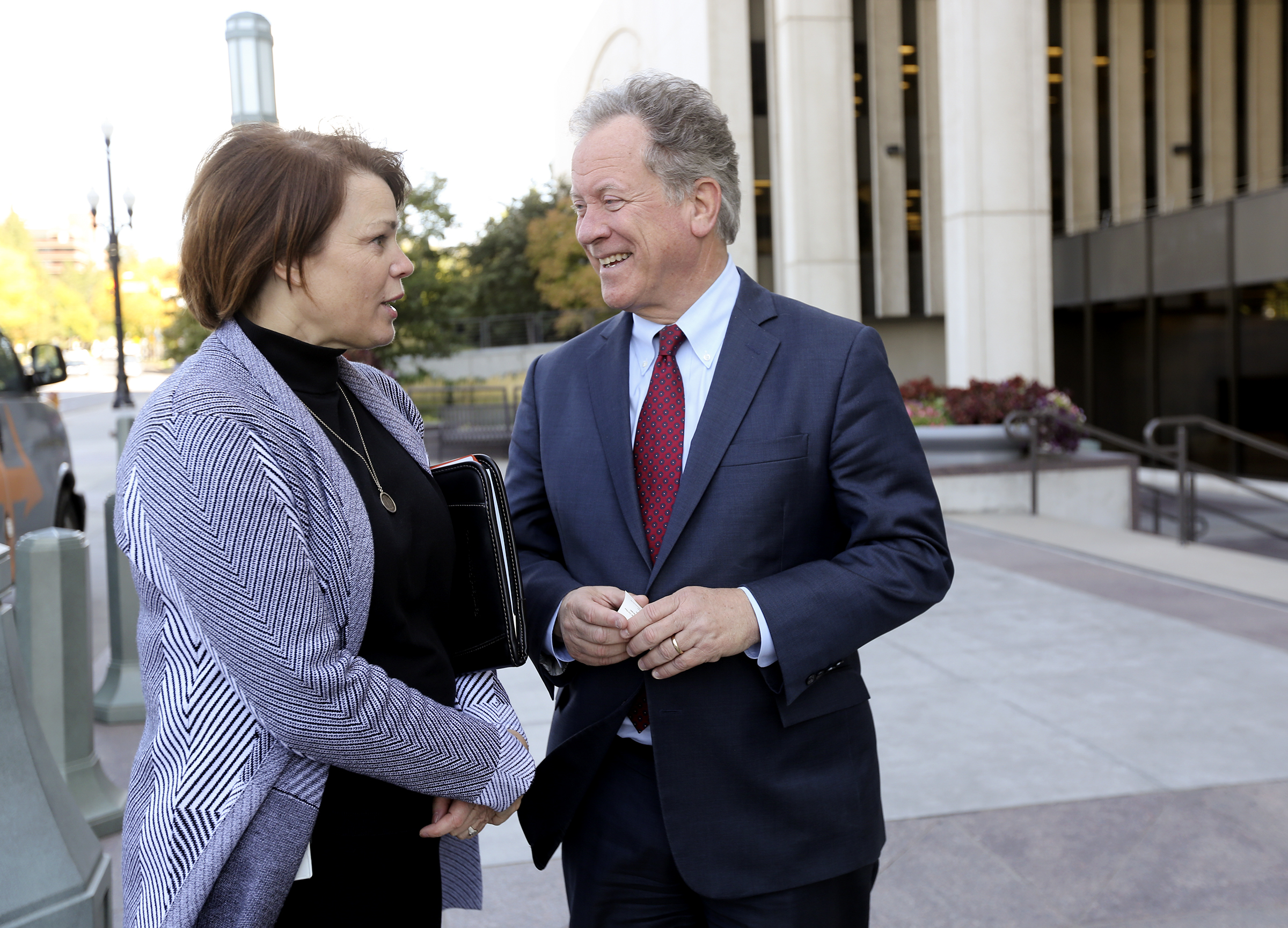Sister Sharon Eubank, first counselor in the Relief Society general presidency of The Church of Jesus Christ of Latter-day Saints, talks with David Beasley, United Nations World Food Programme executive director, outside of the Church Office Building in Salt Lake City on Monday, Sept. 30, 2019.