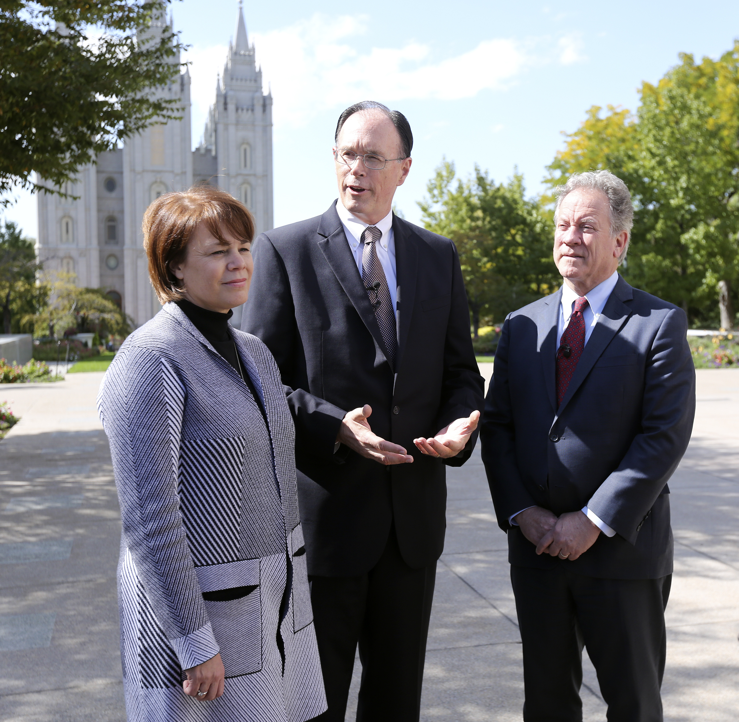 Sister Sharon Eubank, first counselor in the Relief Society general presidency of The Church of Jesus Christ of Latter-day Saints, Bishop W. Christopher Waddell, second counselor in the Presiding Bishopric of The Church of Jesus Christ of Latter-day Saints, and David Beasley, United Nations World Food Programme executive director, talk to members of the media at Temple Square in Salt Lake City on Monday, Sept. 30, 2019.