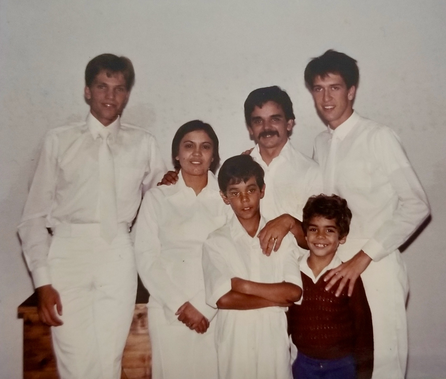 The Alves family of Angar, Terceira Island, on their baptism day in 1985 in Angar, São Miguel Island of the Azores. Luís Alves is second from the right, his wife, Nair Alves is second from their left, with the two sons Herberto and Paulo, lower right.