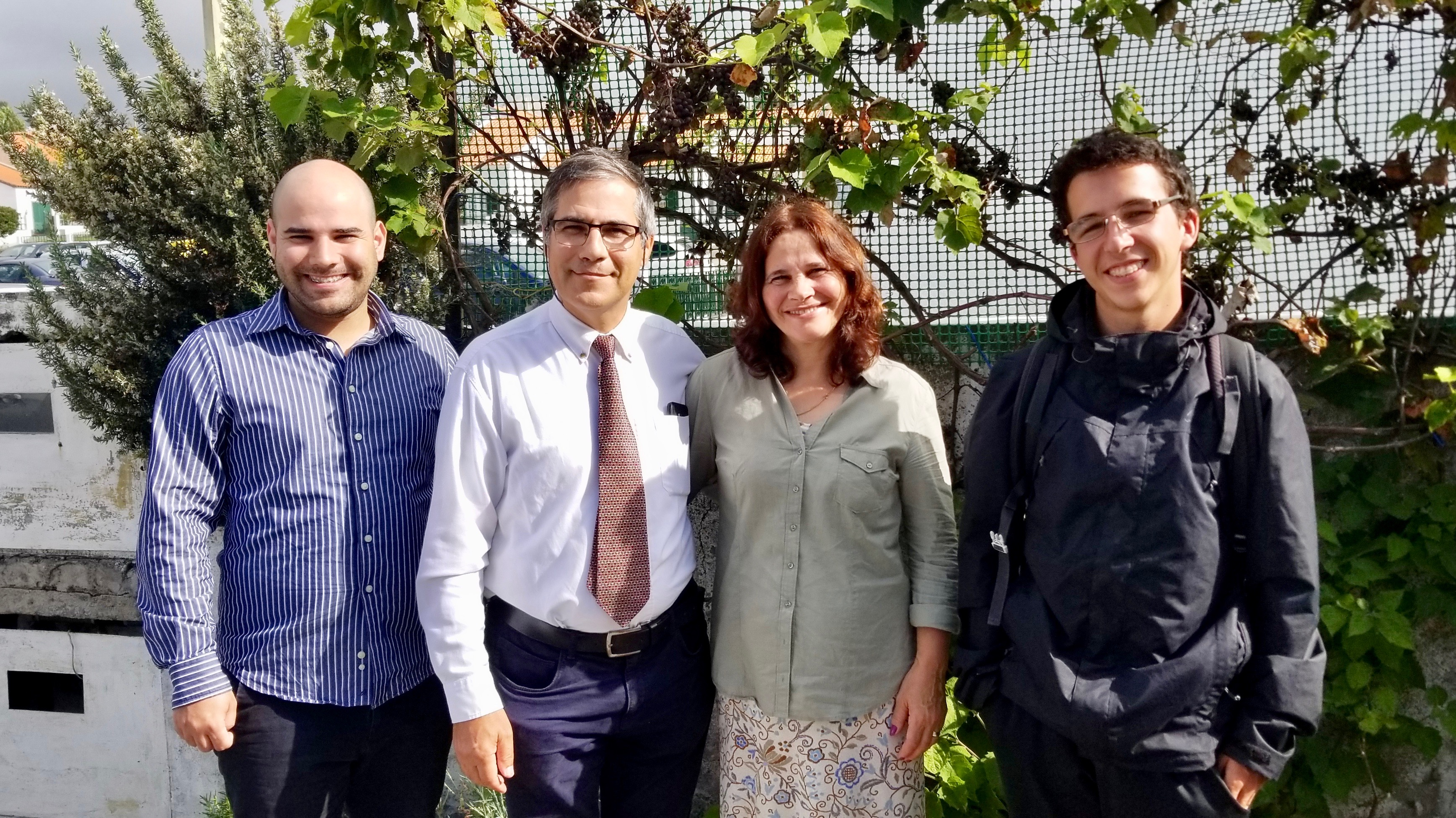 President João Joaquim Pinto, second from left, the second counselor in the Açores Portugal District, is photographed with his wife, Alexandra Pinto; their oldest son, Abraão, left, and recent convert Júlio Costa, right, in Ponta Delgada on São Miguel Island on Sept. 17, 2019.