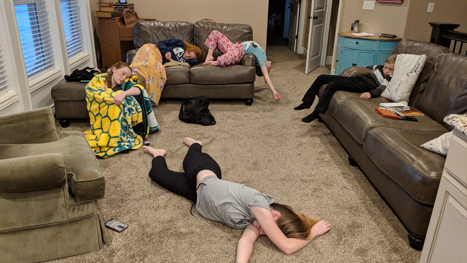 "This photo shows the extreme disinterest of the Bake children in their second ""Come, Follow Me"" lesson from their home in Idaho Falls, Idaho."