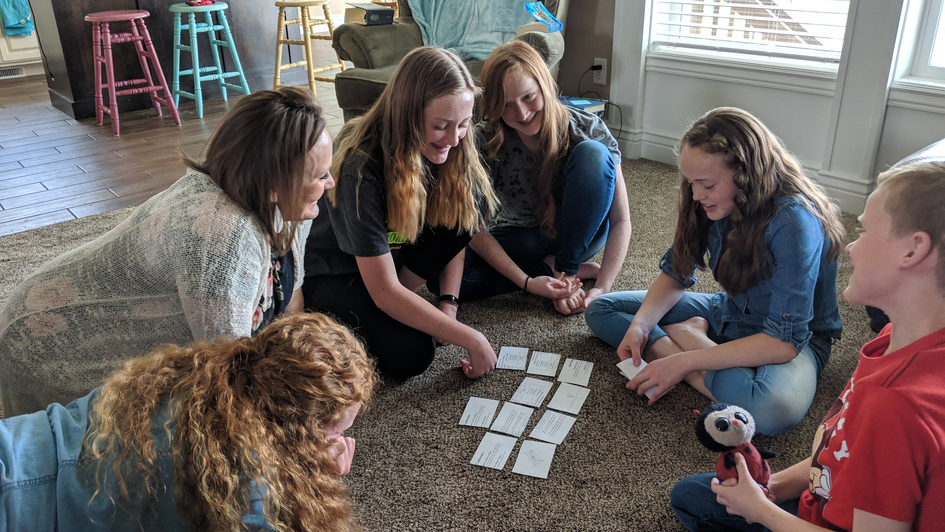 "The Bake family has a fun time playing game as part of their family ""Come, Follow Me"" lesson in April 2019."