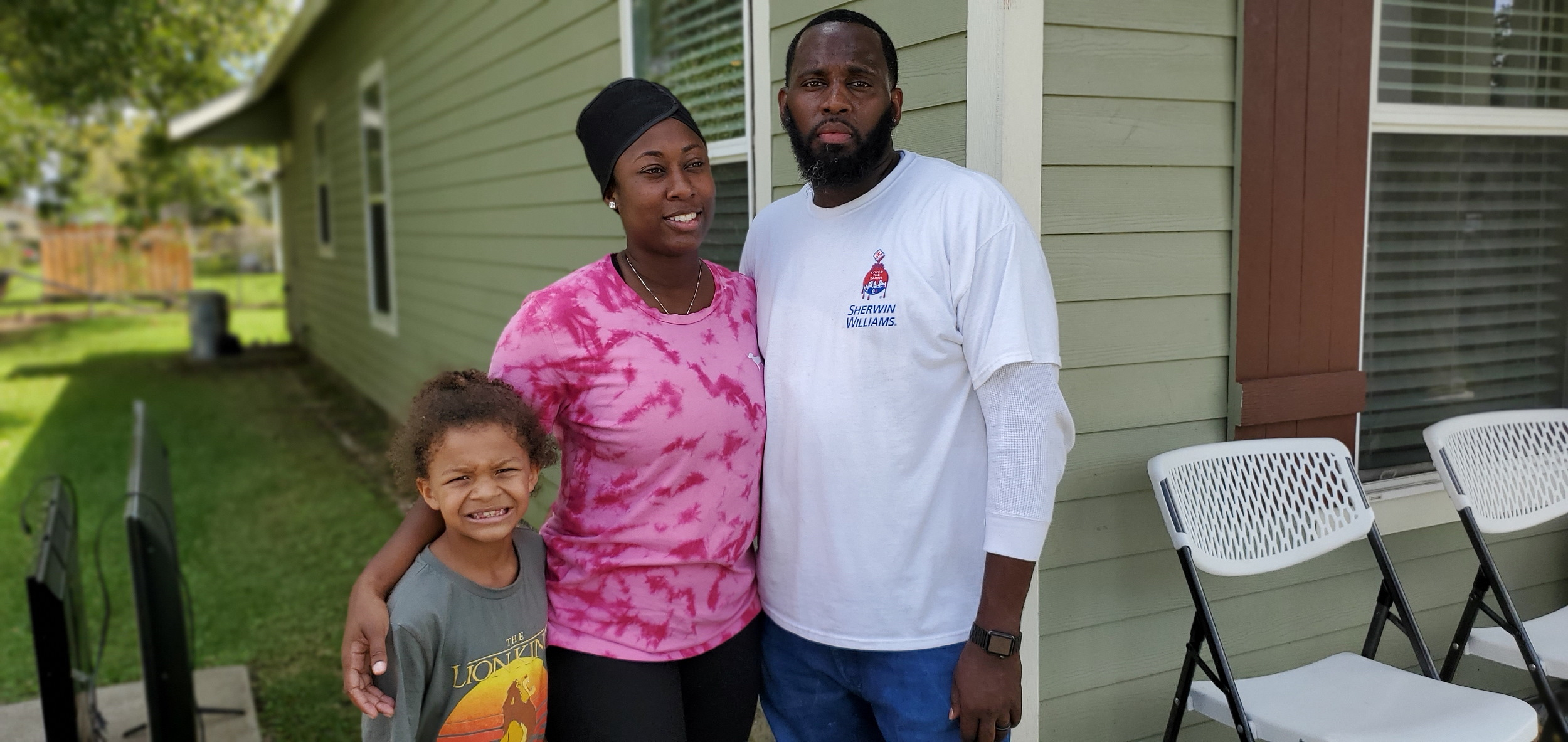 Ebony Sparks and her husband, Christopher, adjust to the harsh reality of a flooded home. Ebony expressed sincere gratitude for the help from Church members.