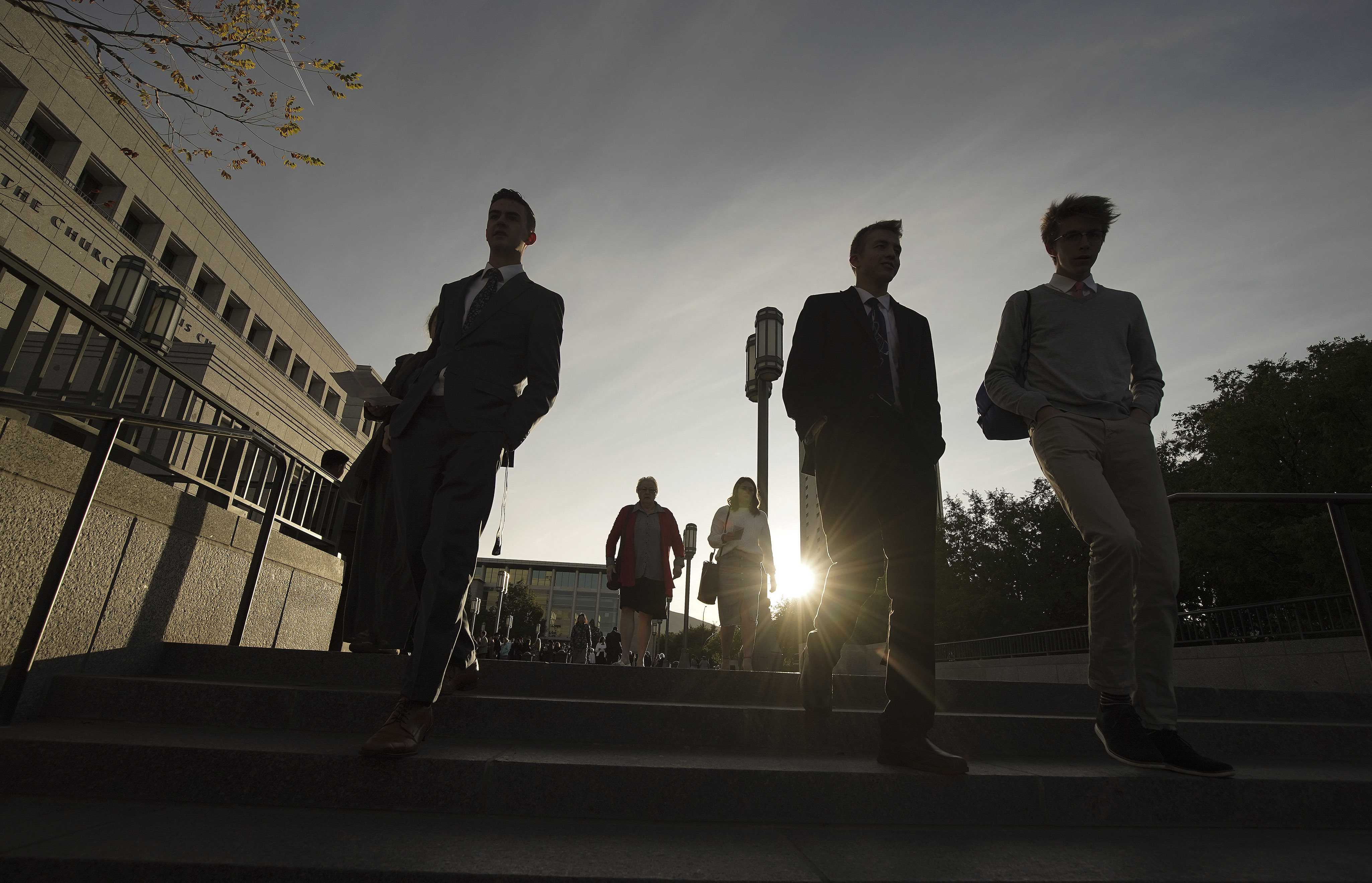 Conferencegoers walk outside the Conference Center prior to the first session of the 189th Semiannual General Conference of The Church of Jesus Christ of Latter-day Saints in Salt Lake City on Saturday, Oct. 5, 2019.