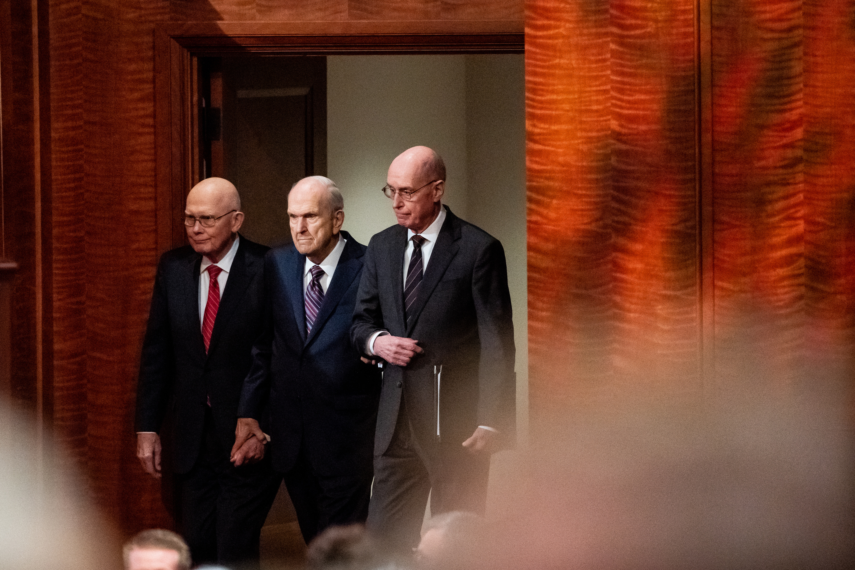 President Russell M. Nelson, center, President Dallin H. Oaks, first counselor in the First Presidency, left, and President Henry B. Eyring, second counselor in the First Presidency, right, enter together at the start of the Saturday morning session of the 189th Semiannual General Conference of The Church of Jesus Christ of Latter-day Saints at the Conference Center in Salt Lake City on Saturday, Oct. 5, 2019.